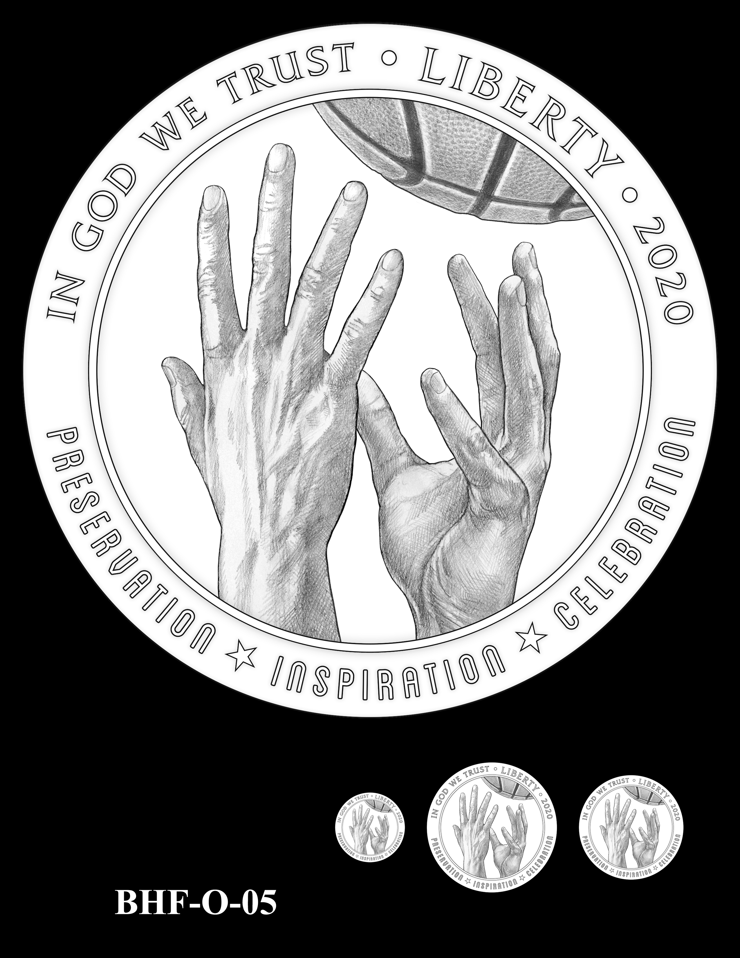 BHF-O-05 -- 2020 Basketball Hall of Fame Commemorative Coin Program - Common Obverse