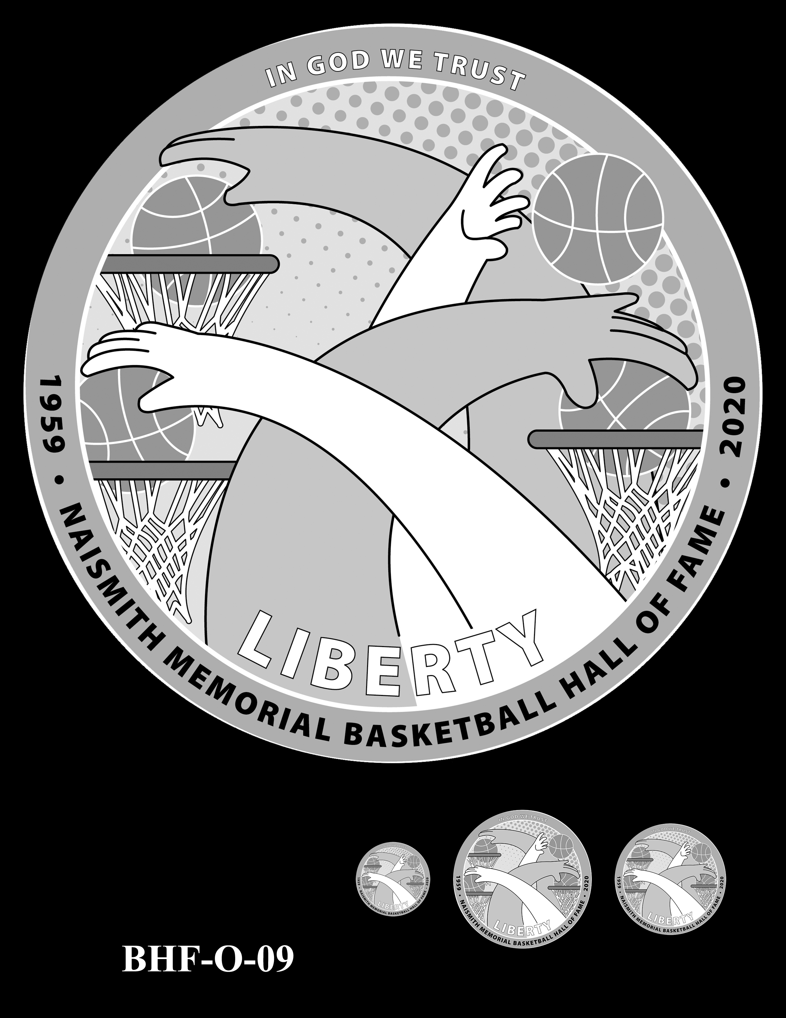 BHF-O-09 -- 2020 Basketball Hall of Fame Commemorative Coin Program - Common Obverse