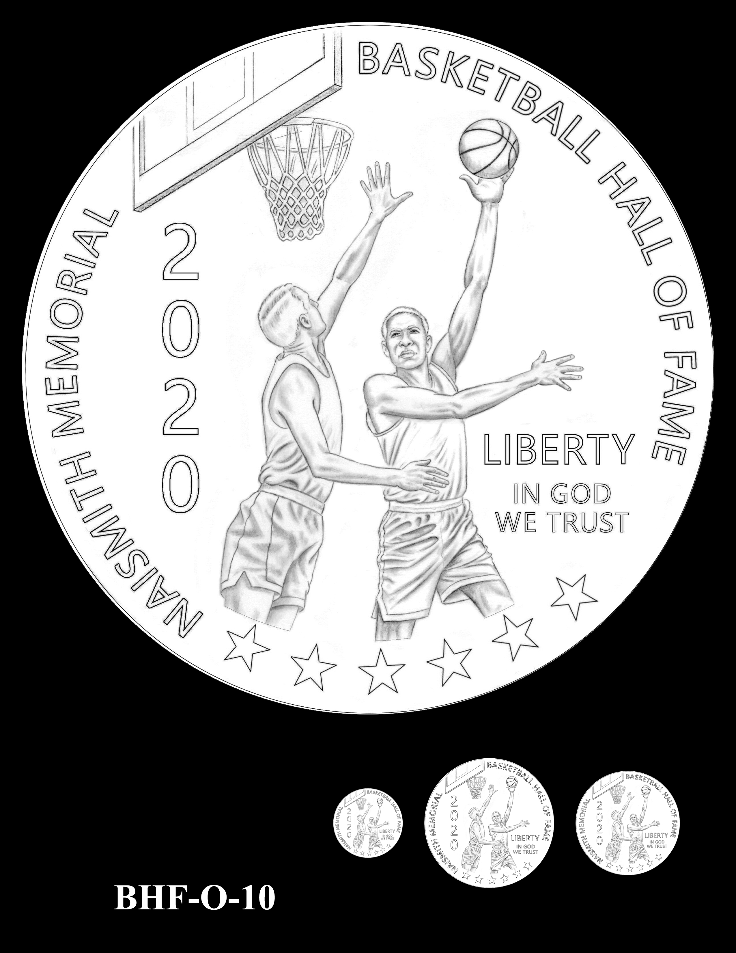 BHF-O-10 -- 2020 Basketball Hall of Fame Commemorative Coin Program - Common Obverse