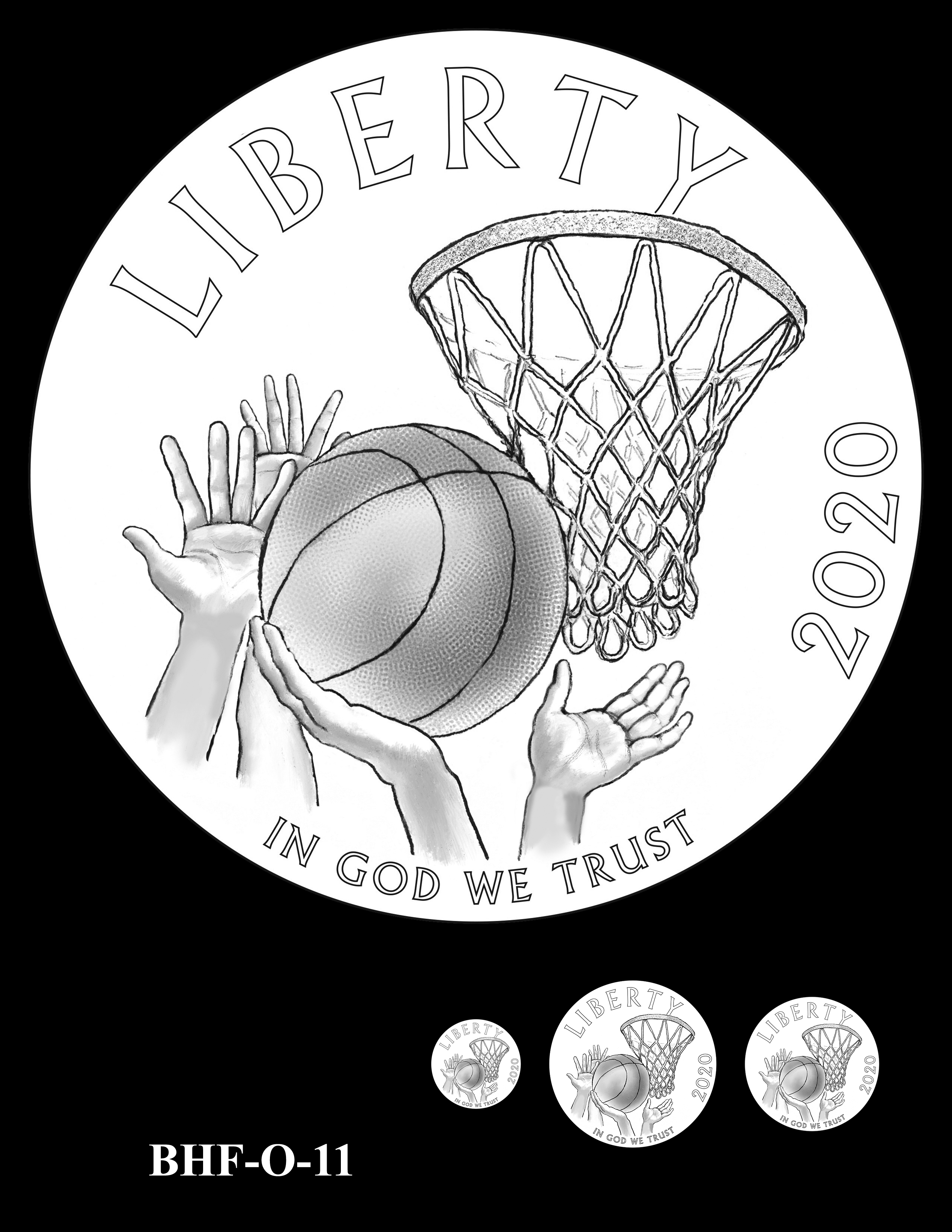 BHF-O-11 -- 2020 Basketball Hall of Fame Commemorative Coin Program - Common Obverse