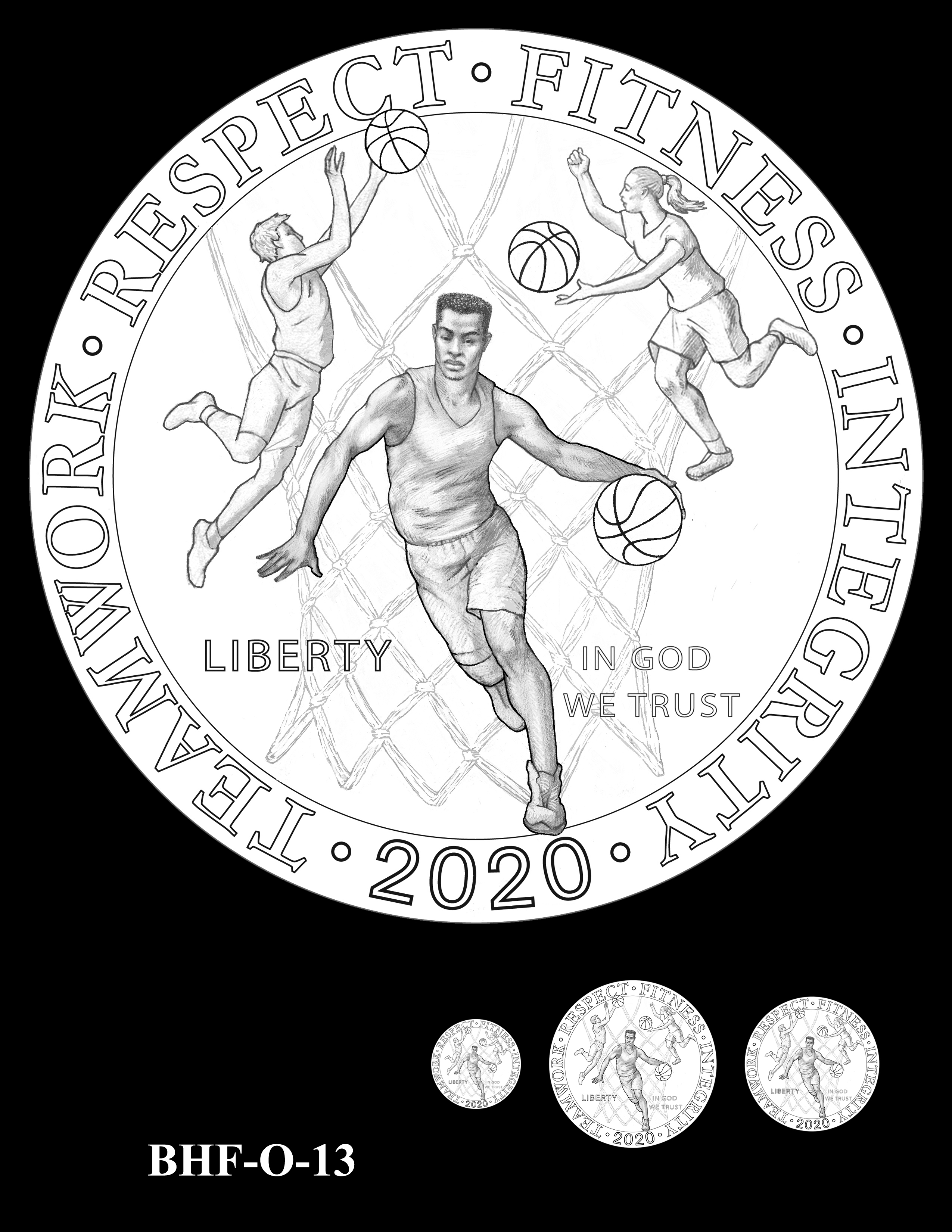 BHF-O-13 -- 2020 Basketball Hall of Fame Commemorative Coin Program - Common Obverse