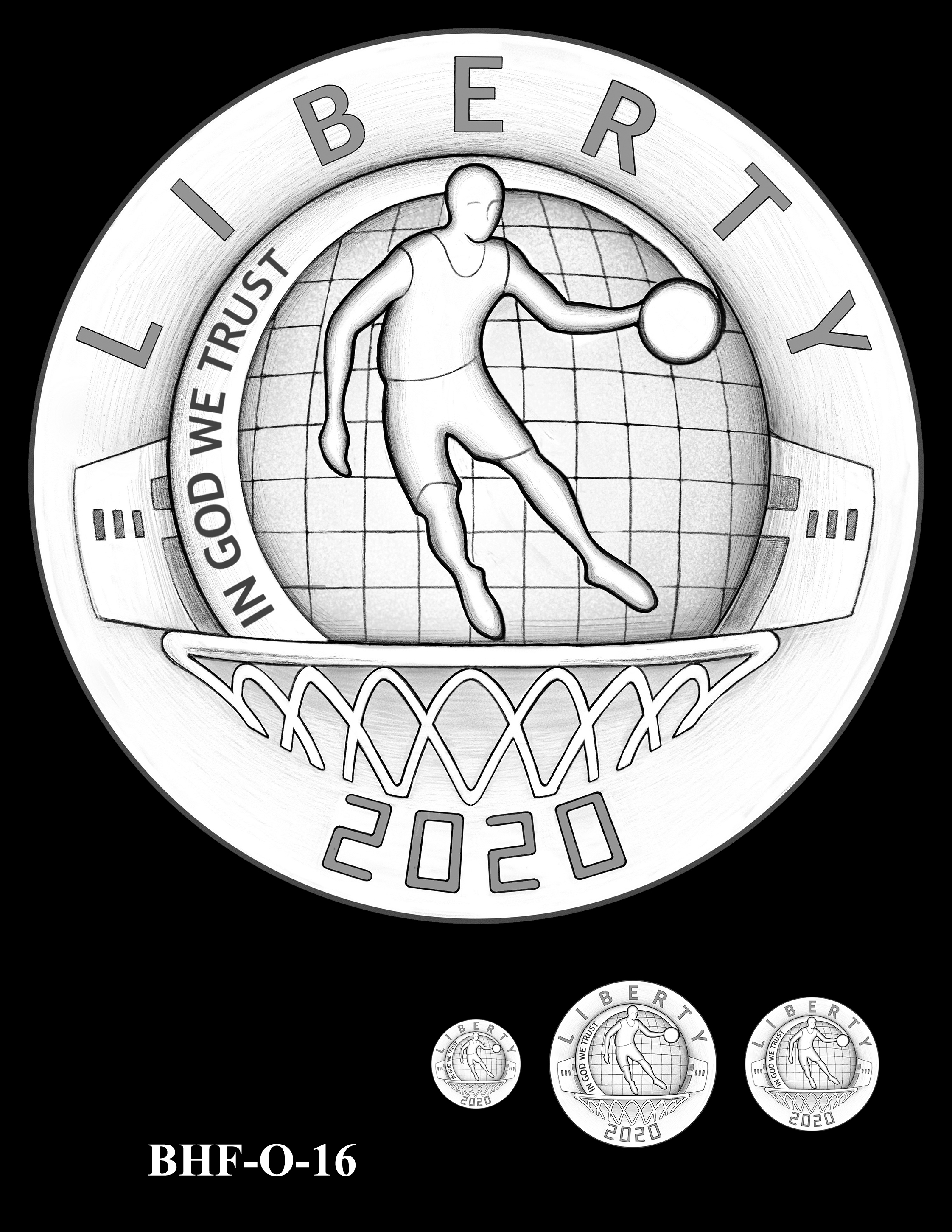 BHF-O-16 -- 2020 Basketball Hall of Fame Commemorative Coin Program - Common Obverse