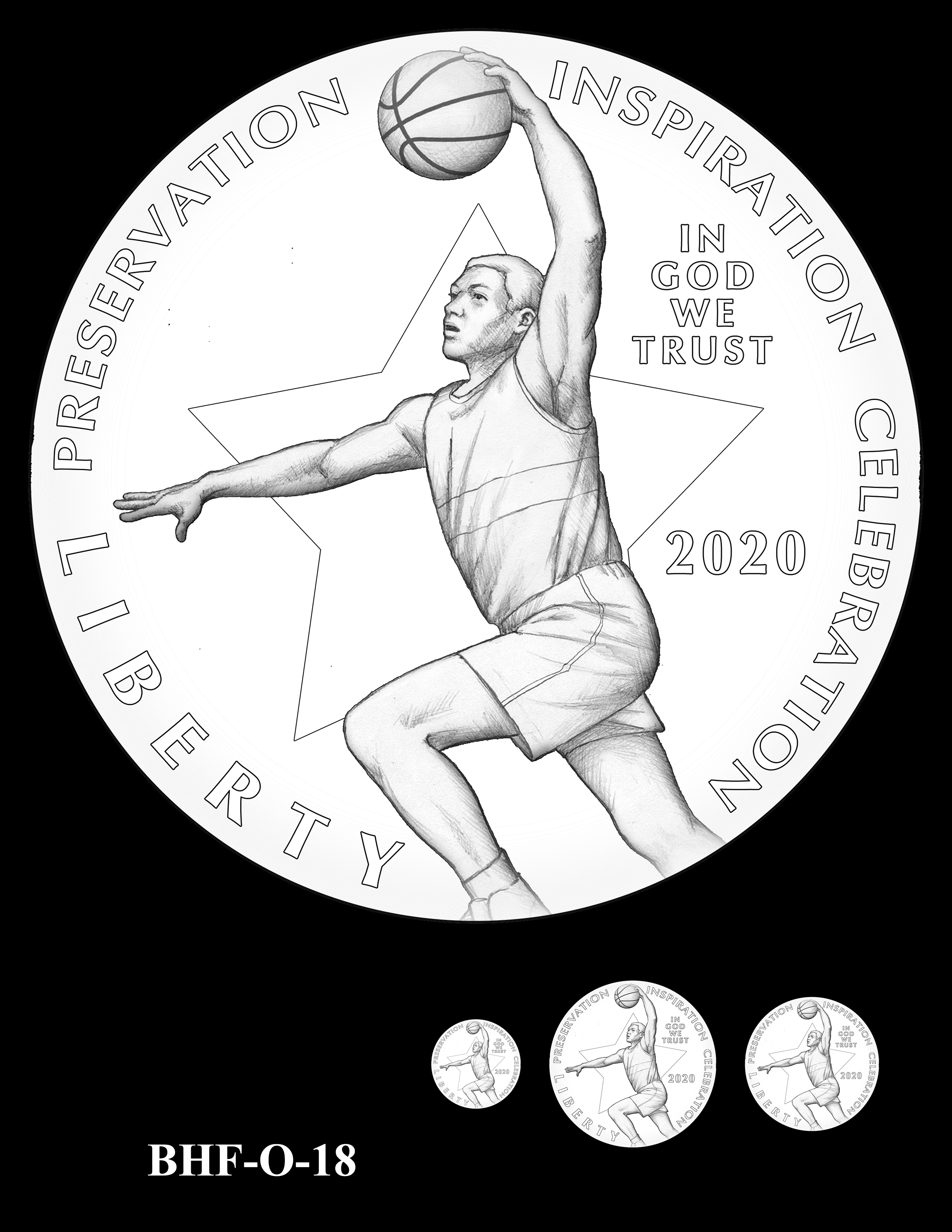 BHF-O-18 -- 2020 Basketball Hall of Fame Commemorative Coin Program - Common Obverse