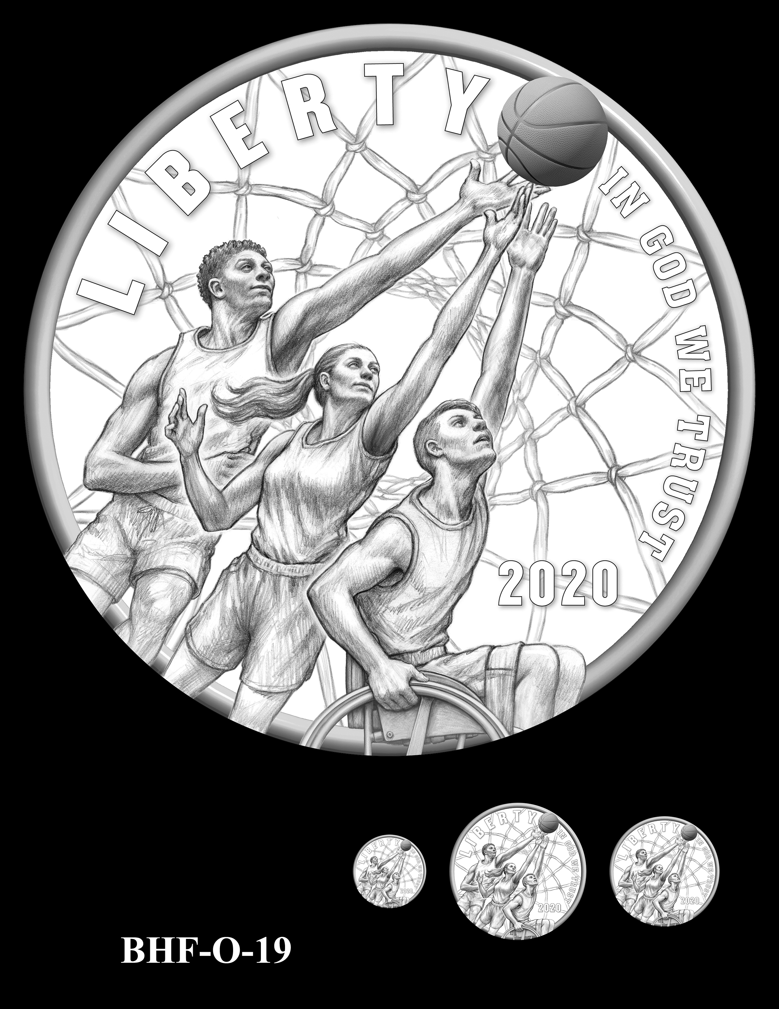 BHF-O-19 -- 2020 Basketball Hall of Fame Commemorative Coin Program - Common Obverse