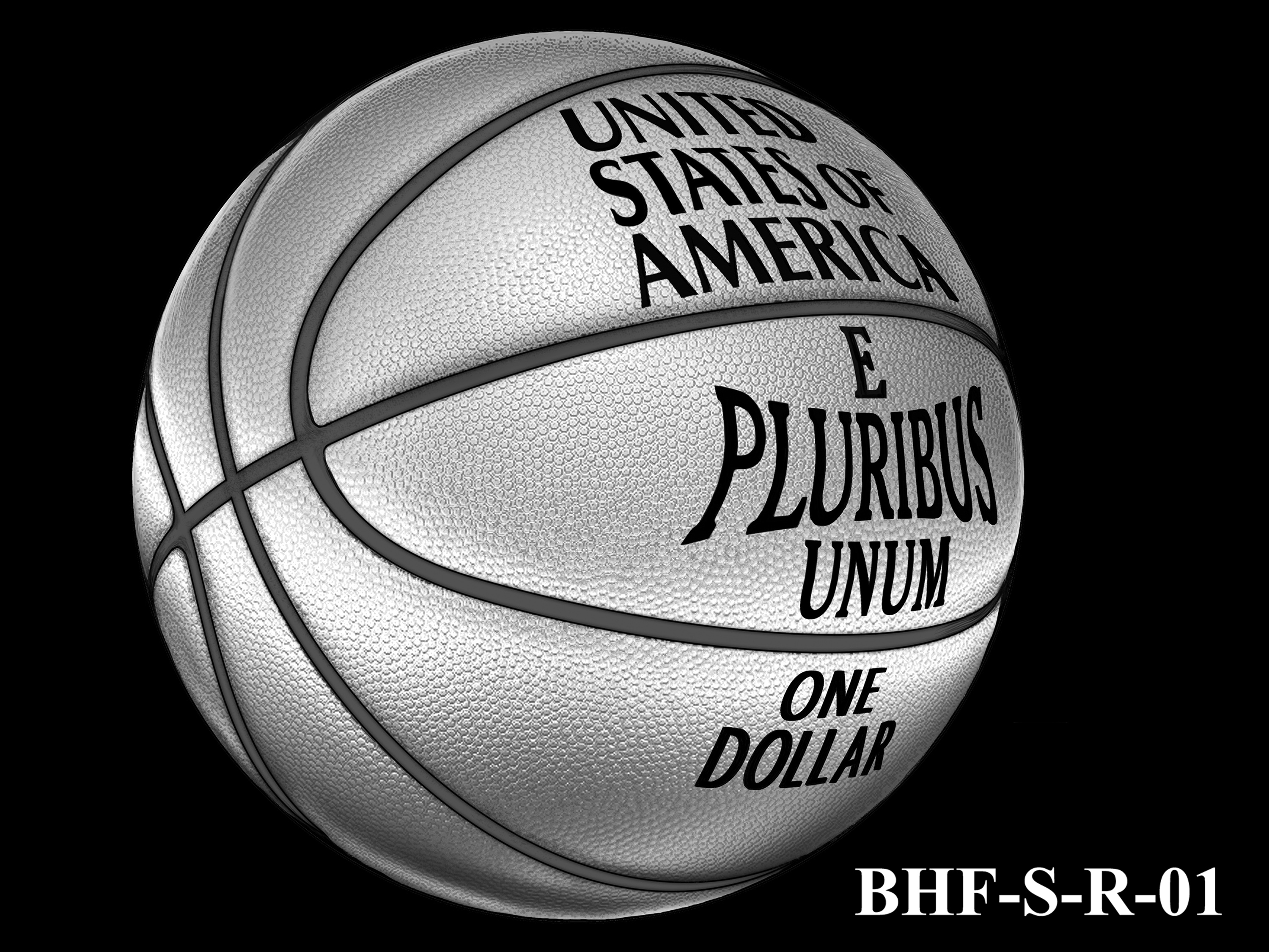 BHF-S-R-01 -- 2020 Basketball Hall of Fame Commemorative Coin Program - Silver Reverse
