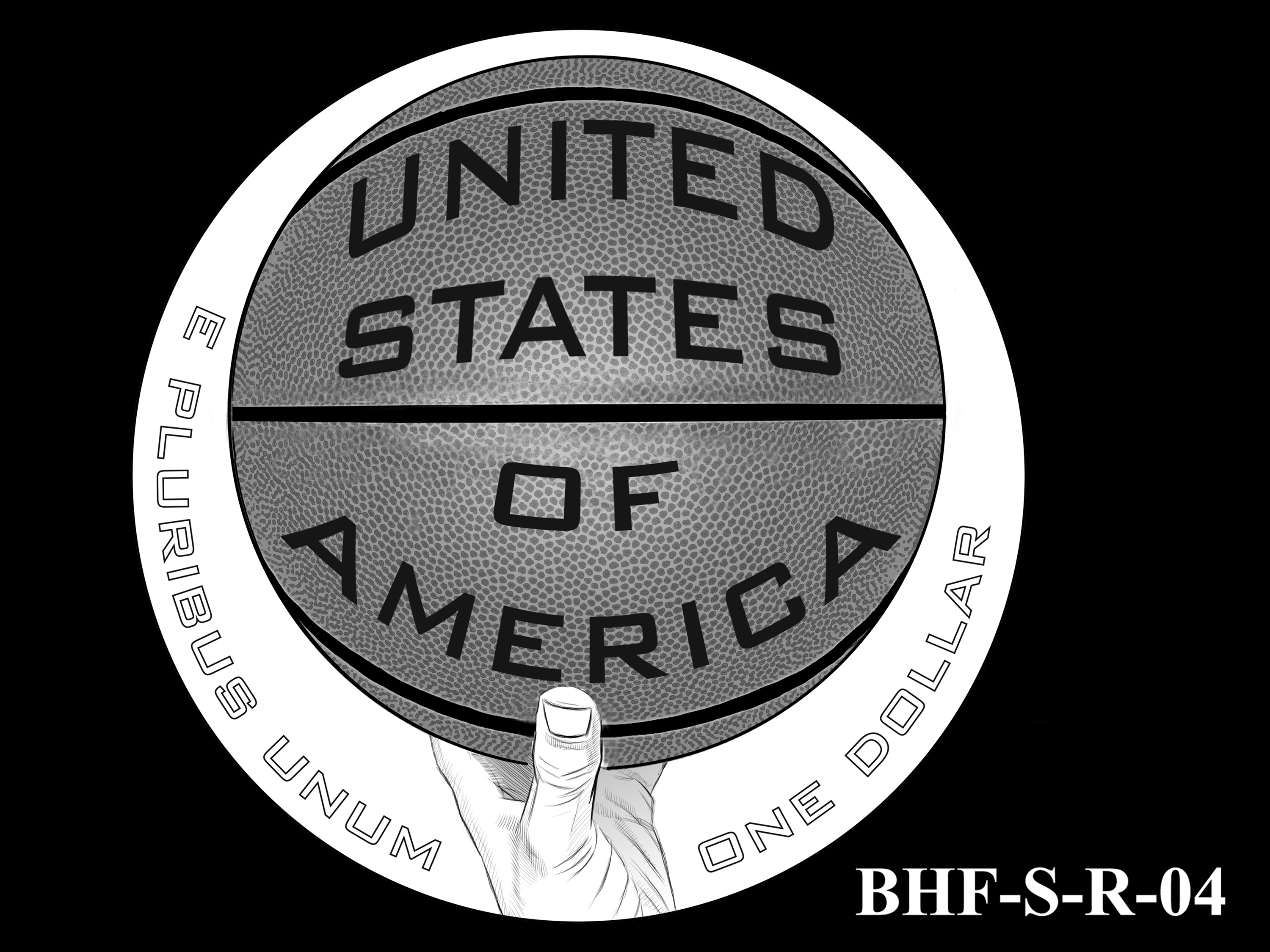 BHF-S-R-04 -- 2020 Basketball Hall of Fame Commemorative Coin Program - Silver Reverse
