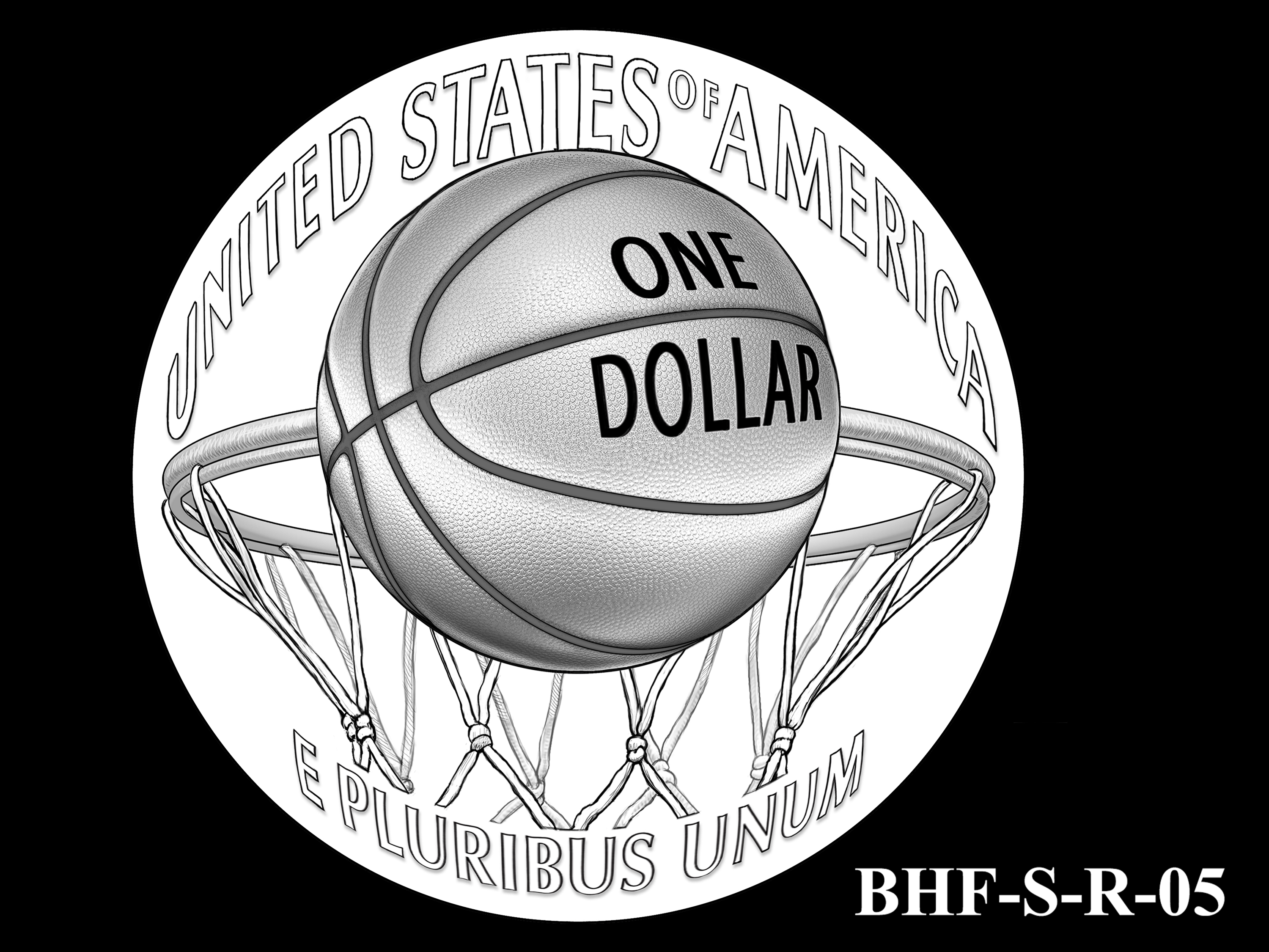 BHF-S-R-05 -- 2020 Basketball Hall of Fame Commemorative Coin Program - Silver Reverse