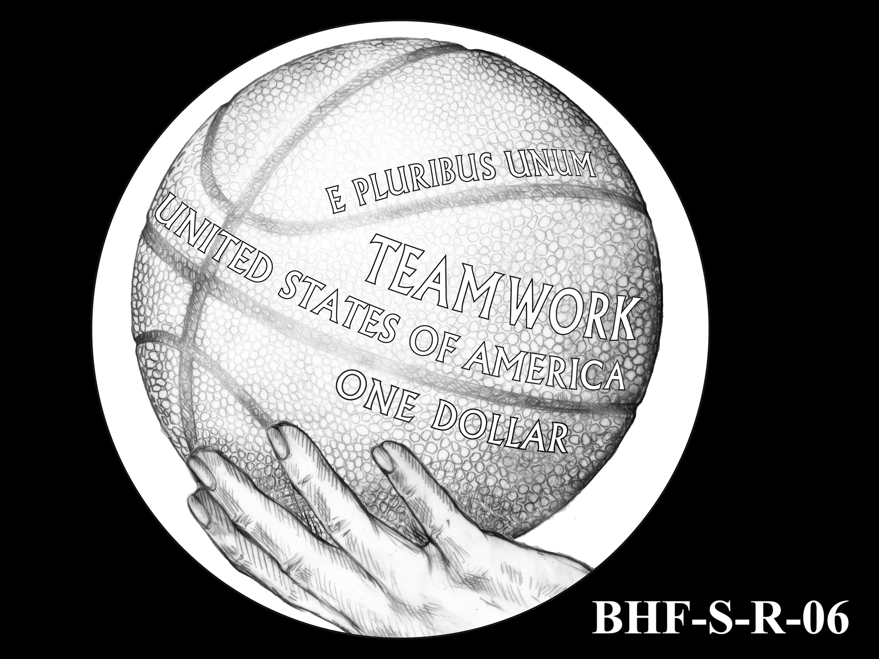 BHF-S-R-06 -- 2020 Basketball Hall of Fame Commemorative Coin Program - Silver Reverse