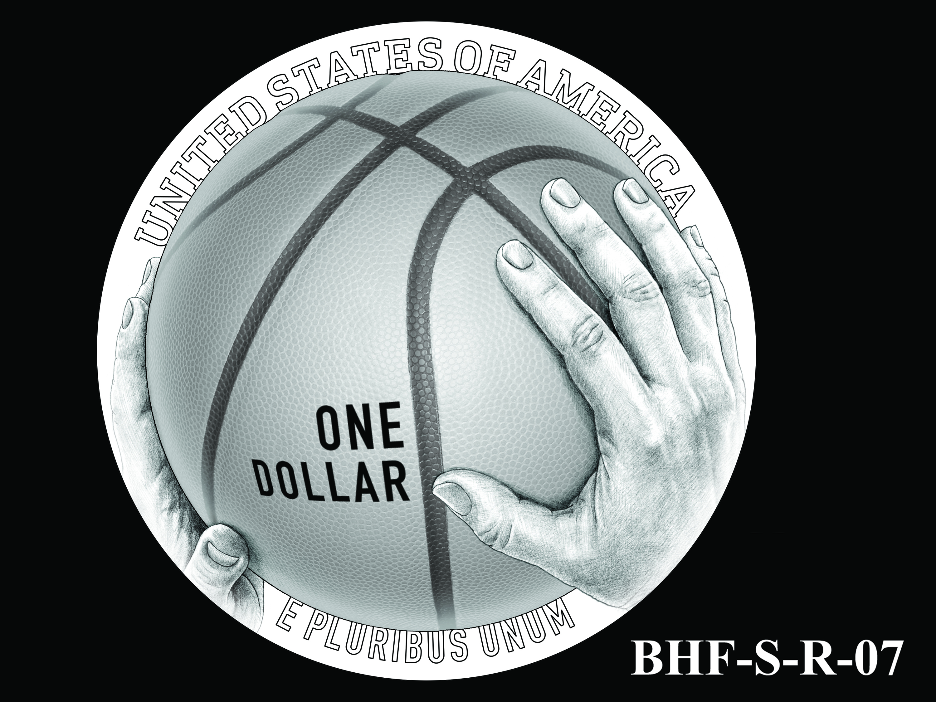 BHF-S-R-07 -- 2020 Basketball Hall of Fame Commemorative Coin Program - Silver Reverse
