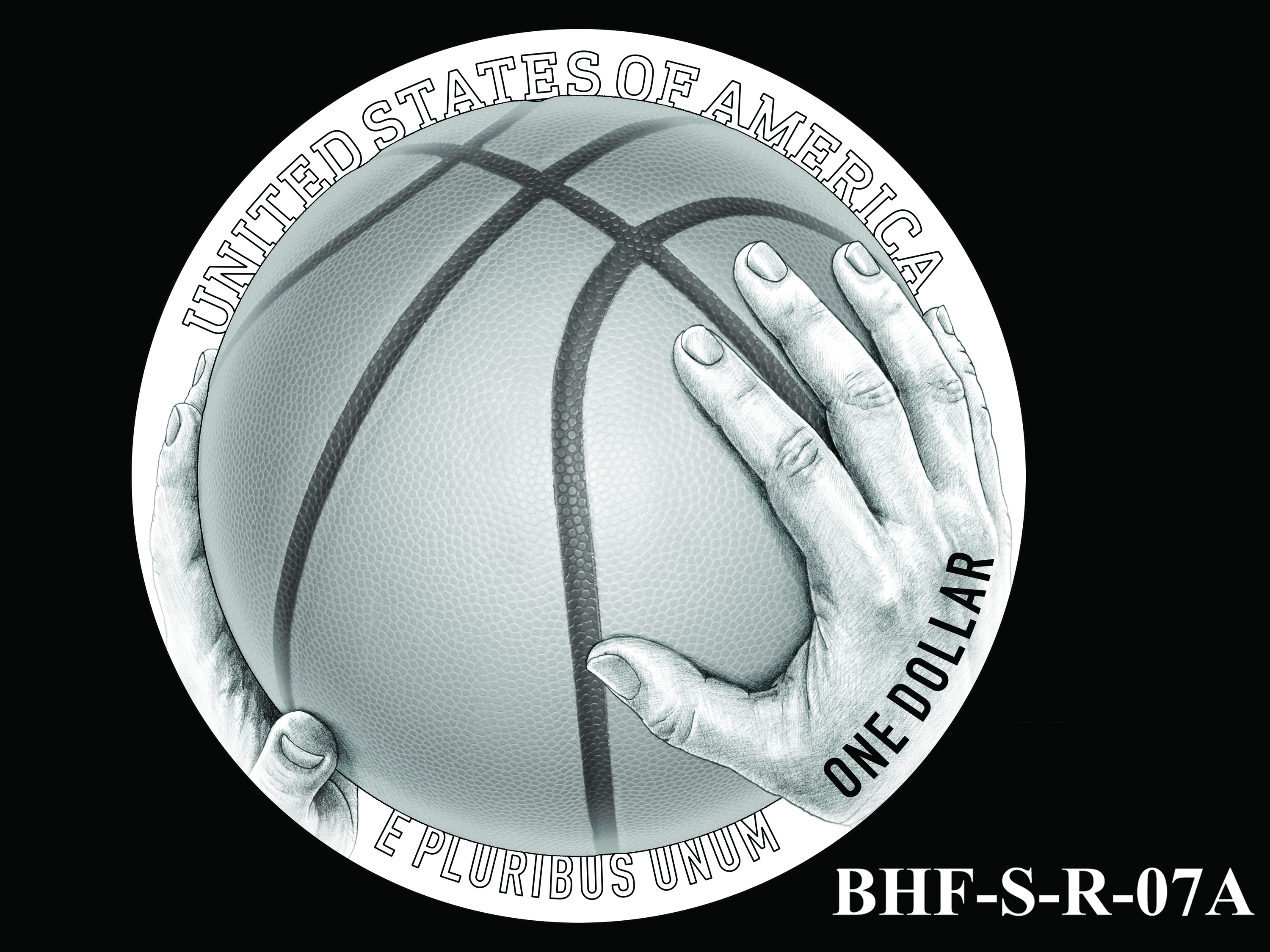 BHF-S-R-07A -- 2020 Basketball Hall of Fame Commemorative Coin Program - Silver Reverse