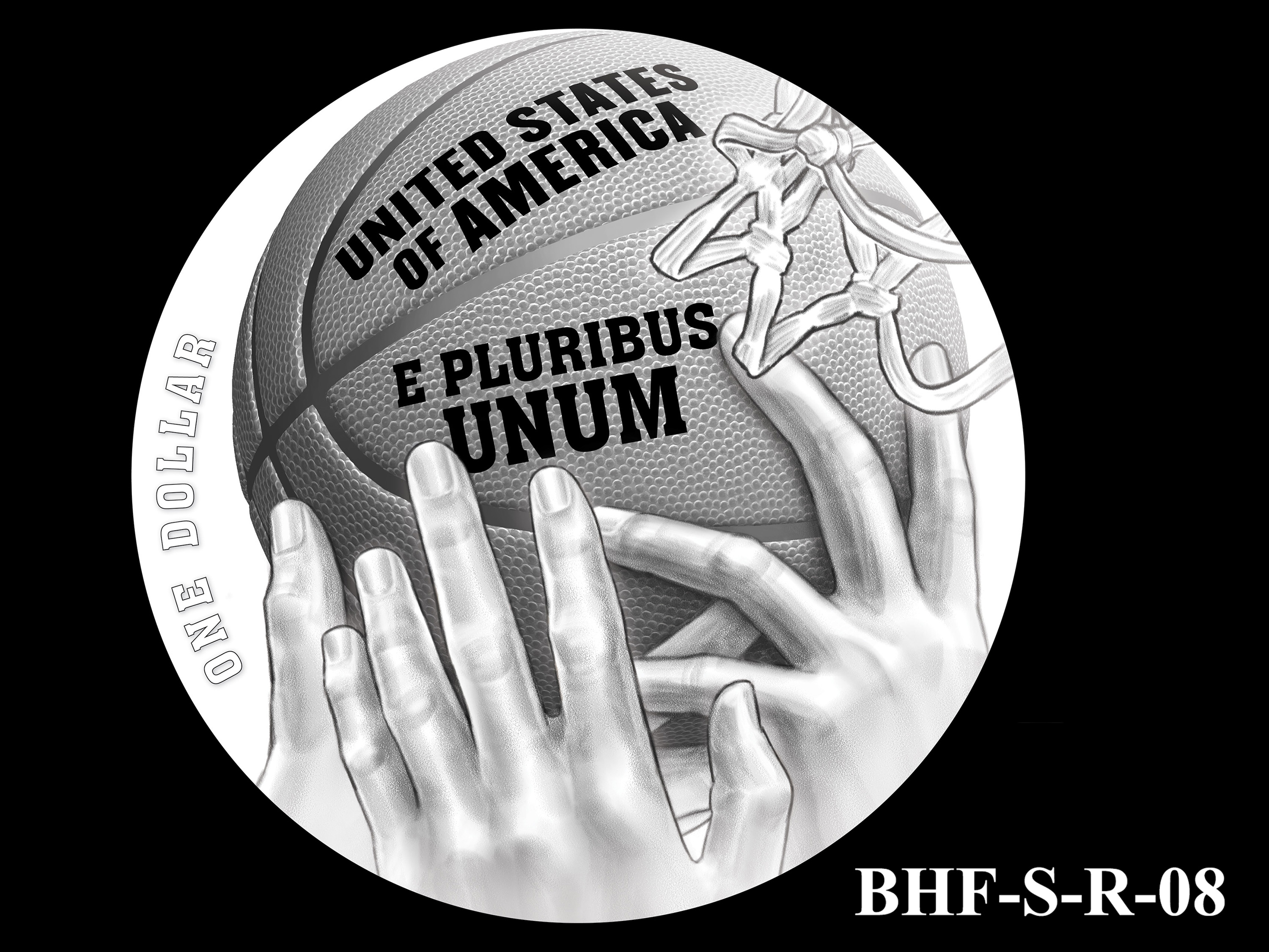 BHF-S-R-08 -- 2020 Basketball Hall of Fame Commemorative Coin Program - Silver Reverse