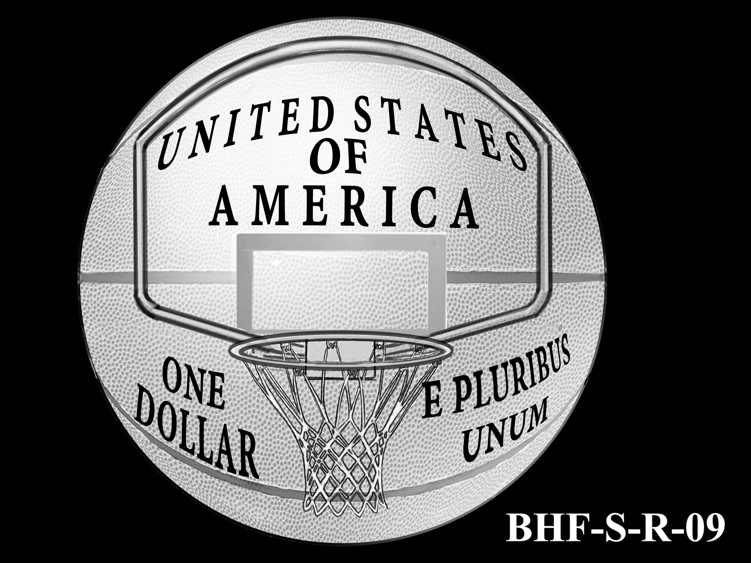 BHF-S-R-09 -- 2020 Basketball Hall of Fame Commemorative Coin Program - Silver Reverse