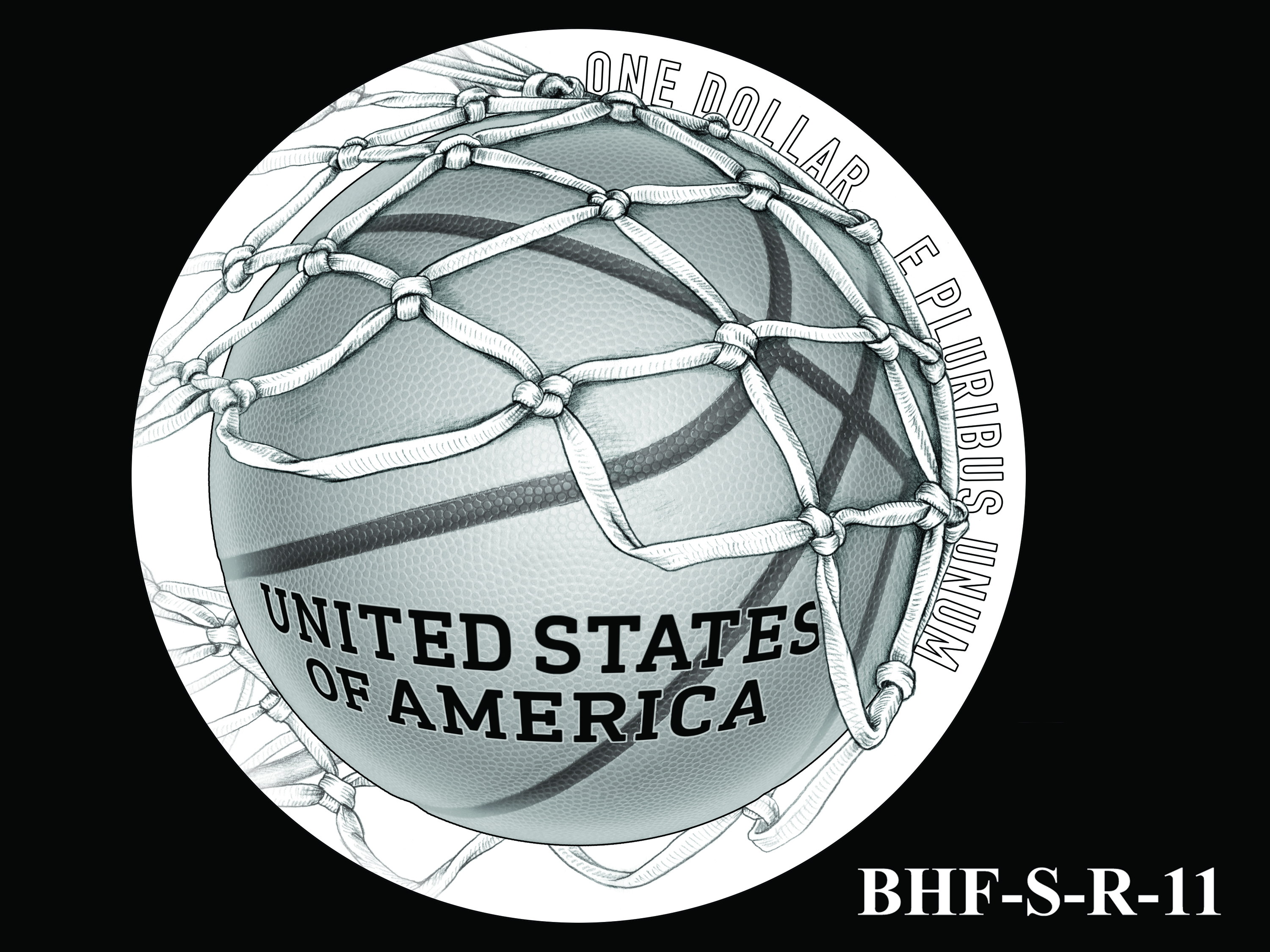 BHF-S-R-11 -- 2020 Basketball Hall of Fame Commemorative Coin Program - Silver Reverse