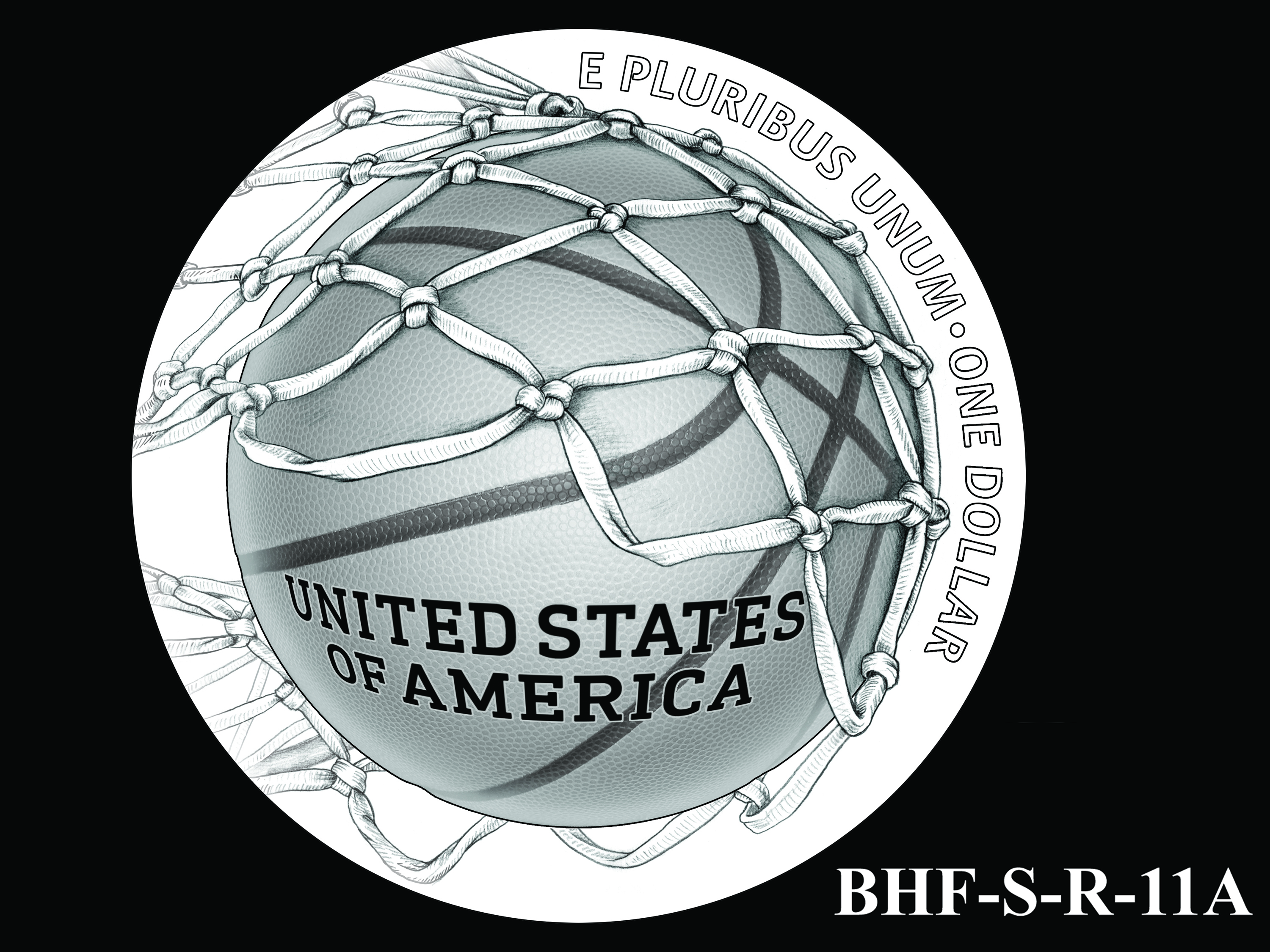 BHF-S-R-11A -- 2020 Basketball Hall of Fame Commemorative Coin Program - Silver Reverse