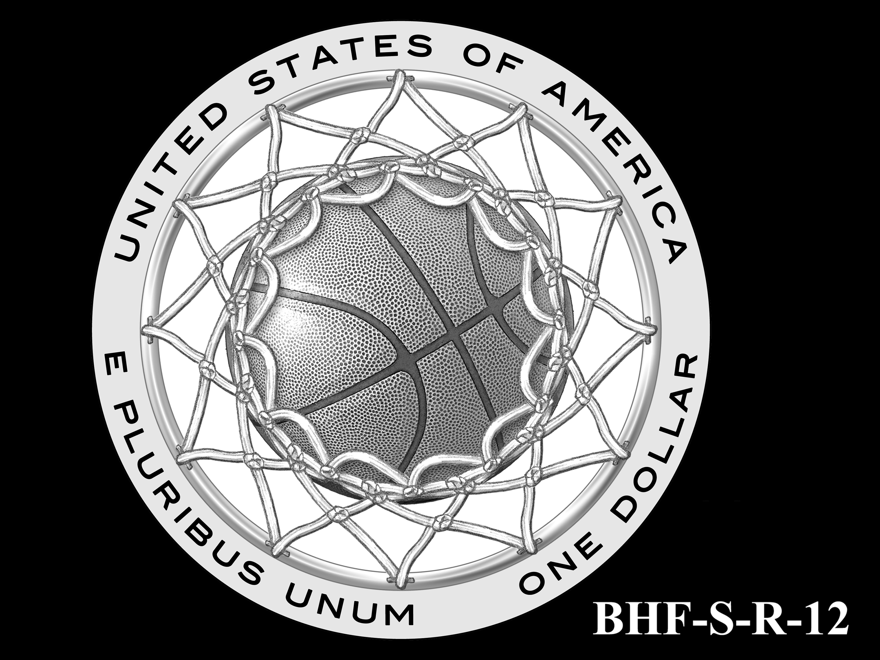 BHF-S-R-12 -- 2020 Basketball Hall of Fame Commemorative Coin Program - Silver Reverse