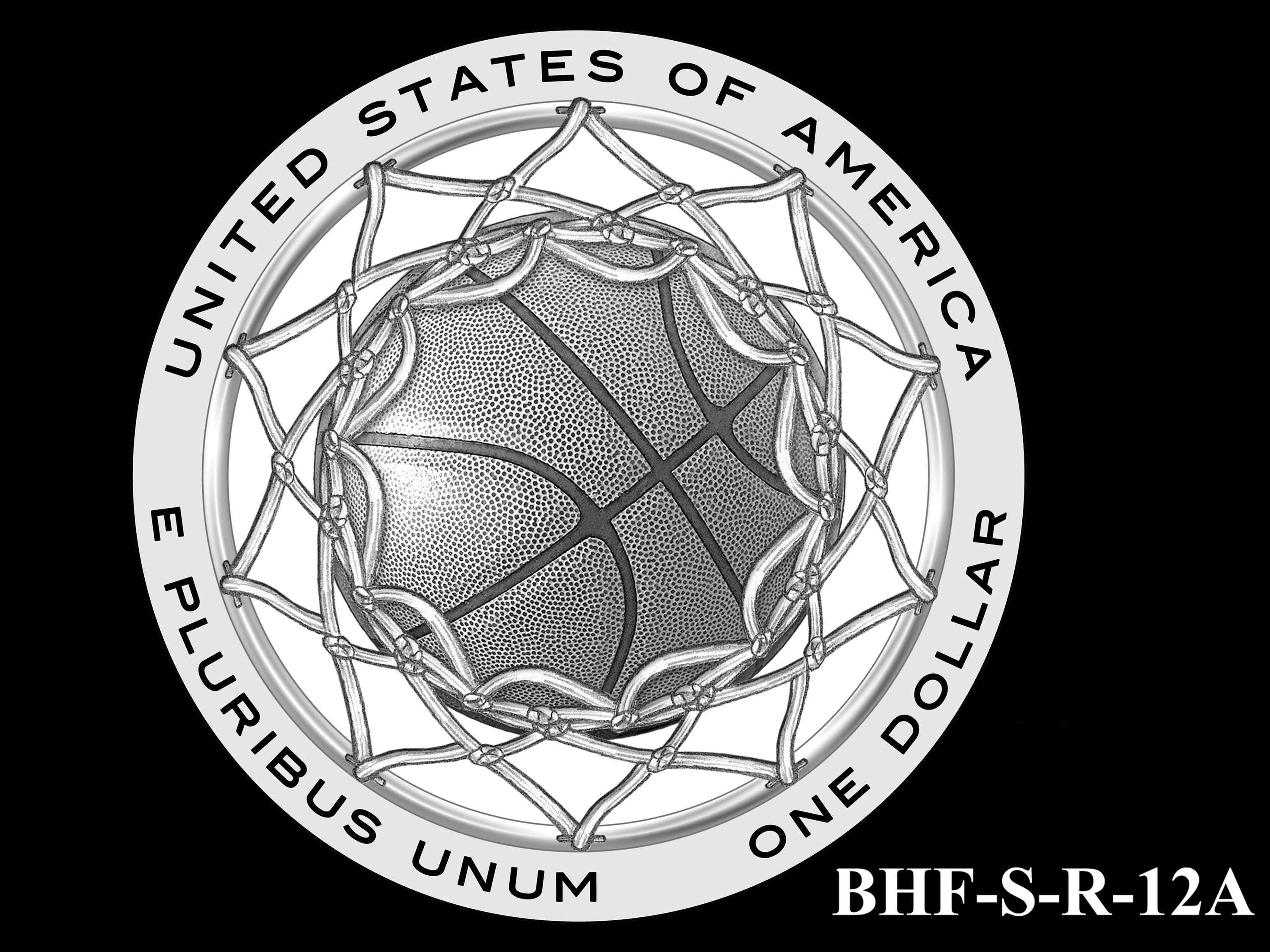 BHF-S-R-12A -- 2020 Basketball Hall of Fame Commemorative Coin Program - Silver Reverse