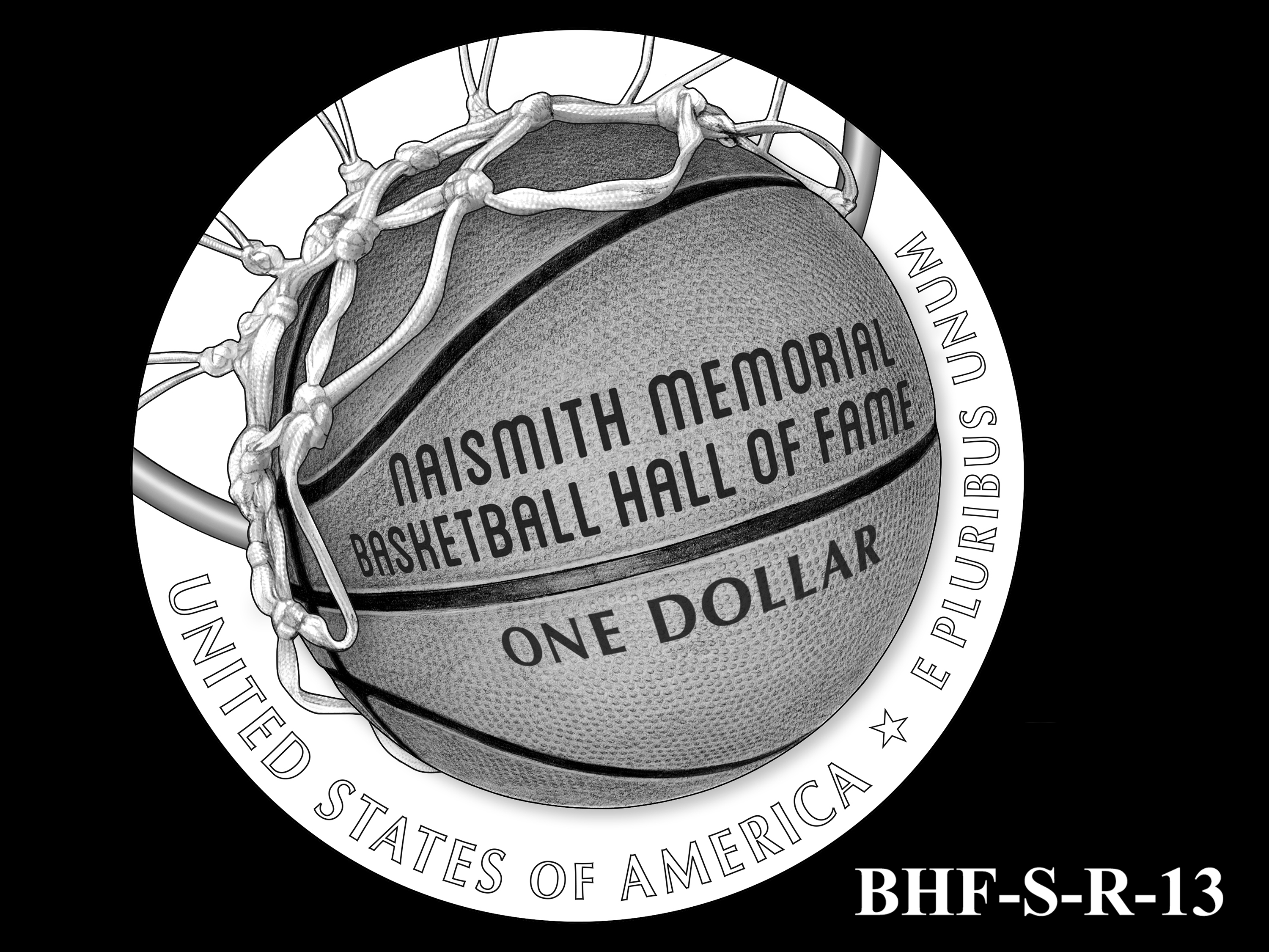 BHF-S-R-13 -- 2020 Basketball Hall of Fame Commemorative Coin Program - Silver Reverse