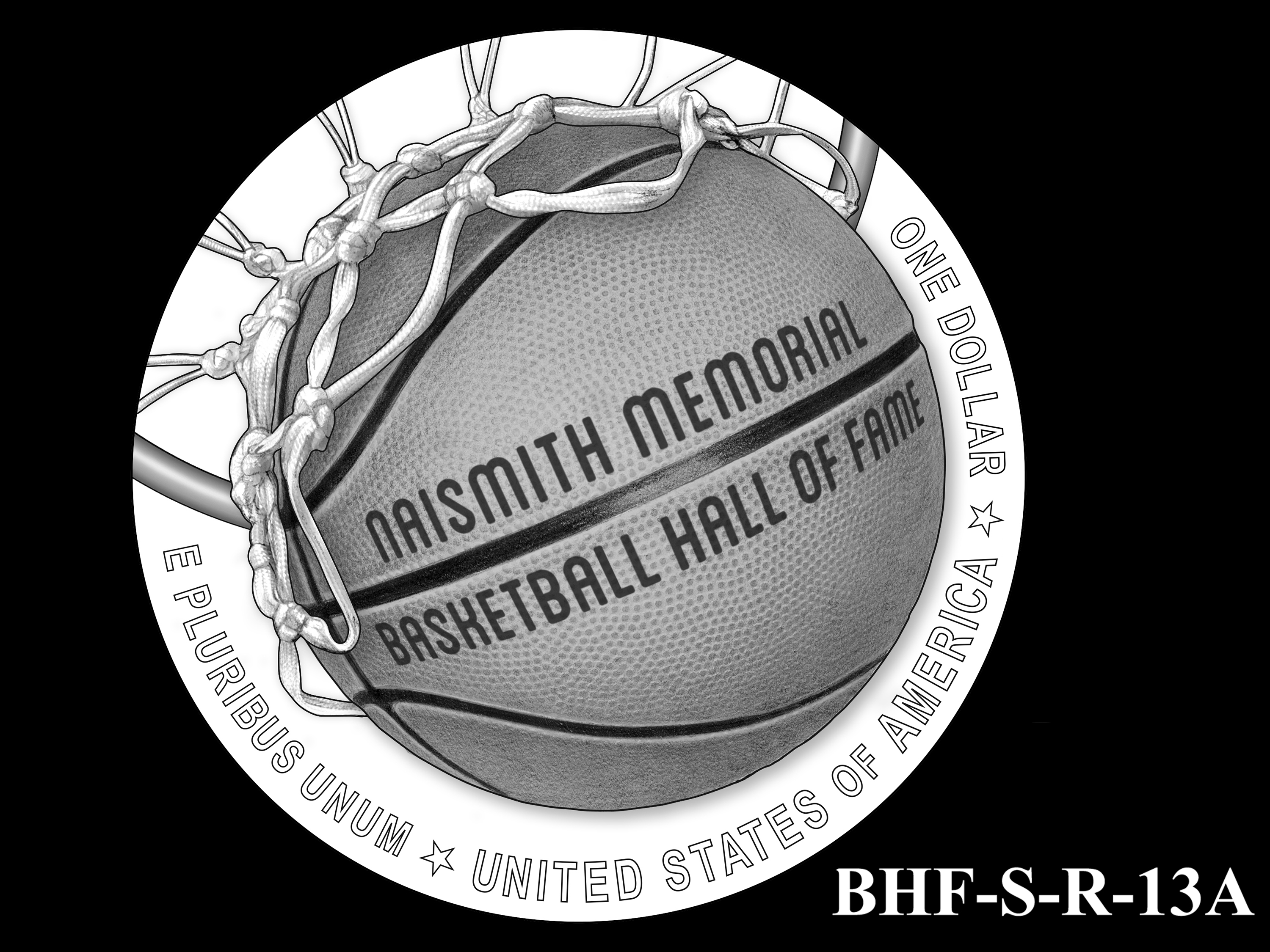 BHF-S-R-13A -- 2020 Basketball Hall of Fame Commemorative Coin Program - Silver Reverse