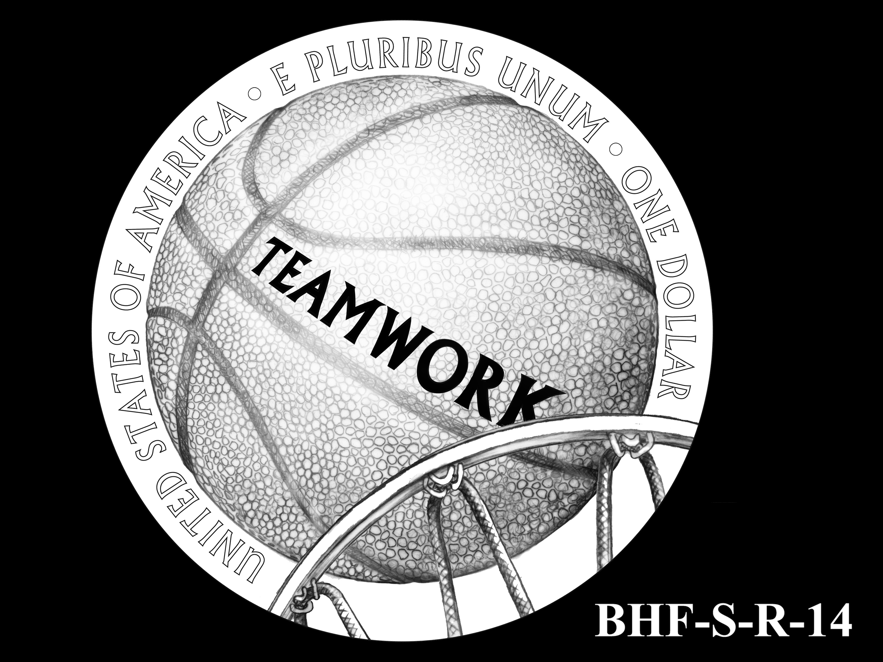 BHF-S-R-14 -- 2020 Basketball Hall of Fame Commemorative Coin Program - Silver Reverse