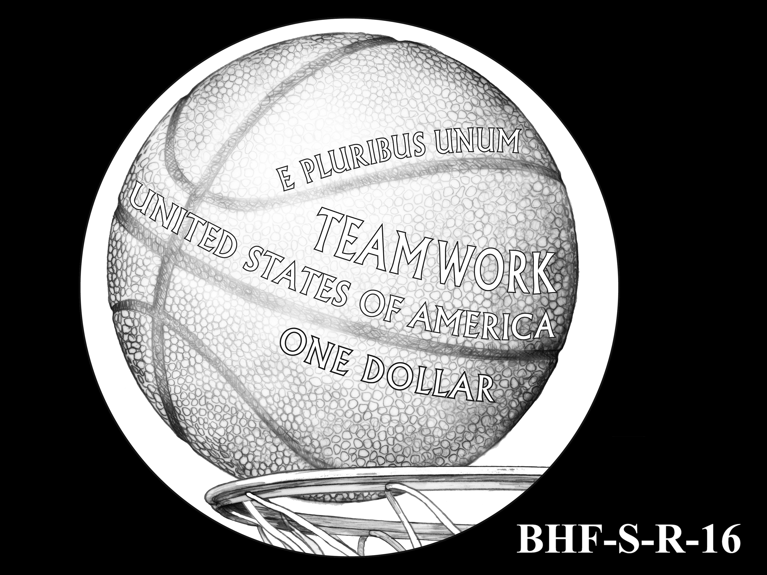 BHF-S-R-16 -- 2020 Basketball Hall of Fame Commemorative Coin Program - Silver Reverse