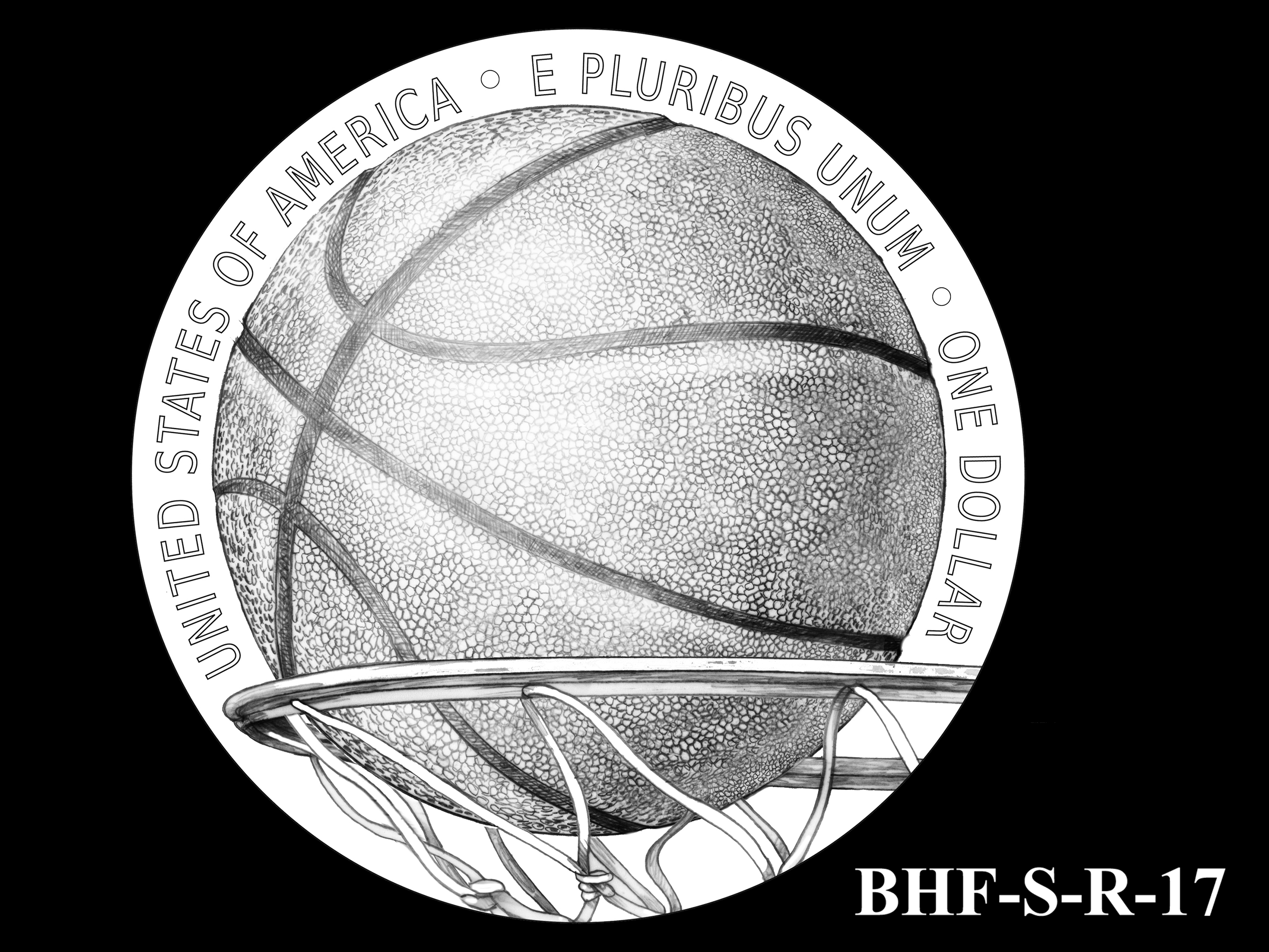 BHF-S-R-17 -- 2020 Basketball Hall of Fame Commemorative Coin Program - Silver Reverse