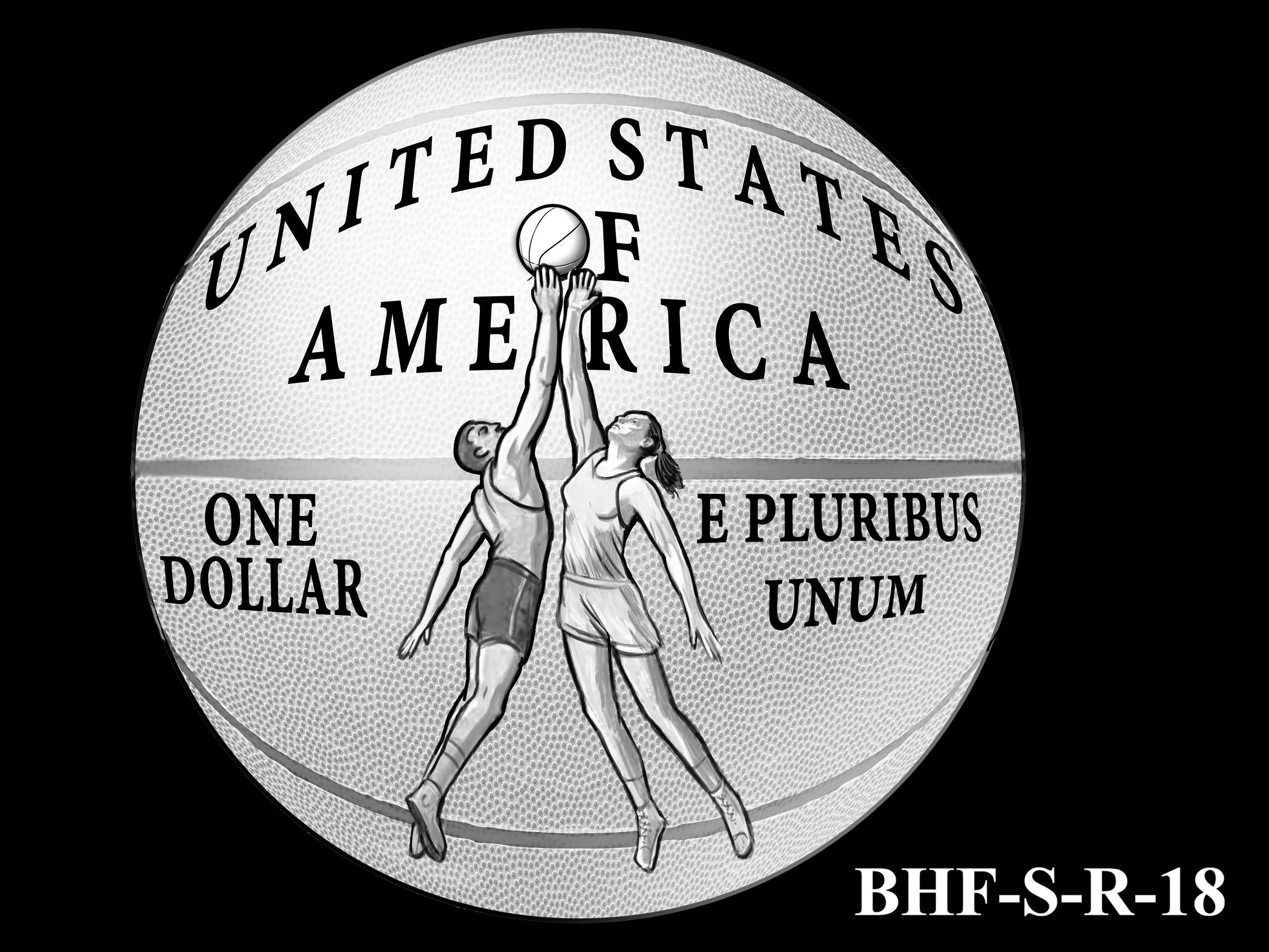 BHF-S-R-18 -- 2020 Basketball Hall of Fame Commemorative Coin Program - Silver Reverse