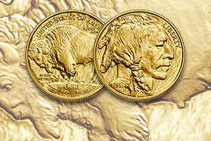 reverse and obverse of the American Buffalo gold coin