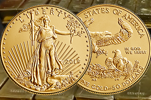 obverse and reverse of the American Eagle gold coin