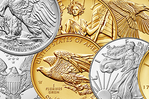 collage of gold and silver coins