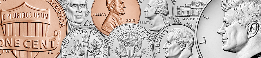 collage of penny, nickel, dime, quarter, half dollar obverses and reverses
