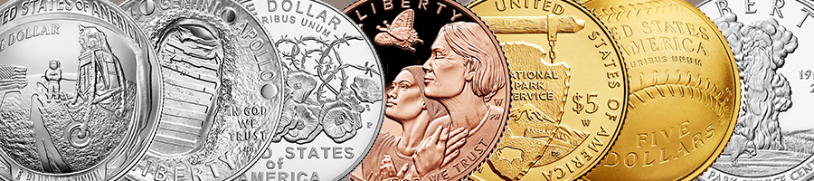 collage of commemorative coins
