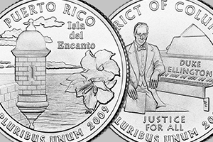 reverses of the Puerto Rico and DC quarters