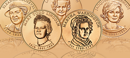 collage of First Spouse medal obverses