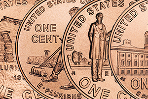 collage of Lincoln Bicentennial penny reverses