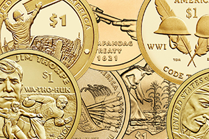 collage of Native American $1 Coin reverses