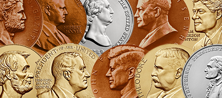 collage of Presidential bronze and silver medals