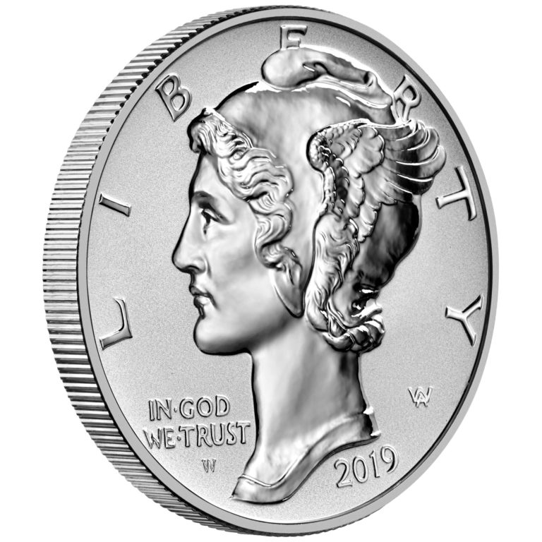 2019 American Eagle Palladium One Ounce Reverse Proof Coin Obverse Angle