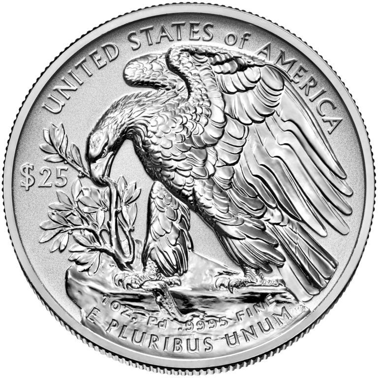2019 American Eagle Palladium One Ounce Reverse Proof Coin Reverse