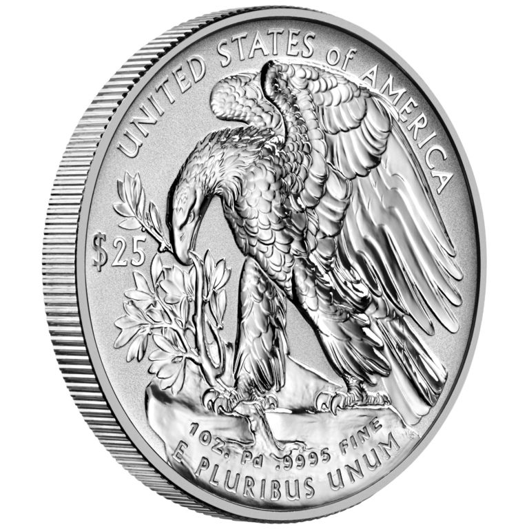 2019 American Eagle Palladium One Ounce Reverse Proof Coin Reverse Angle