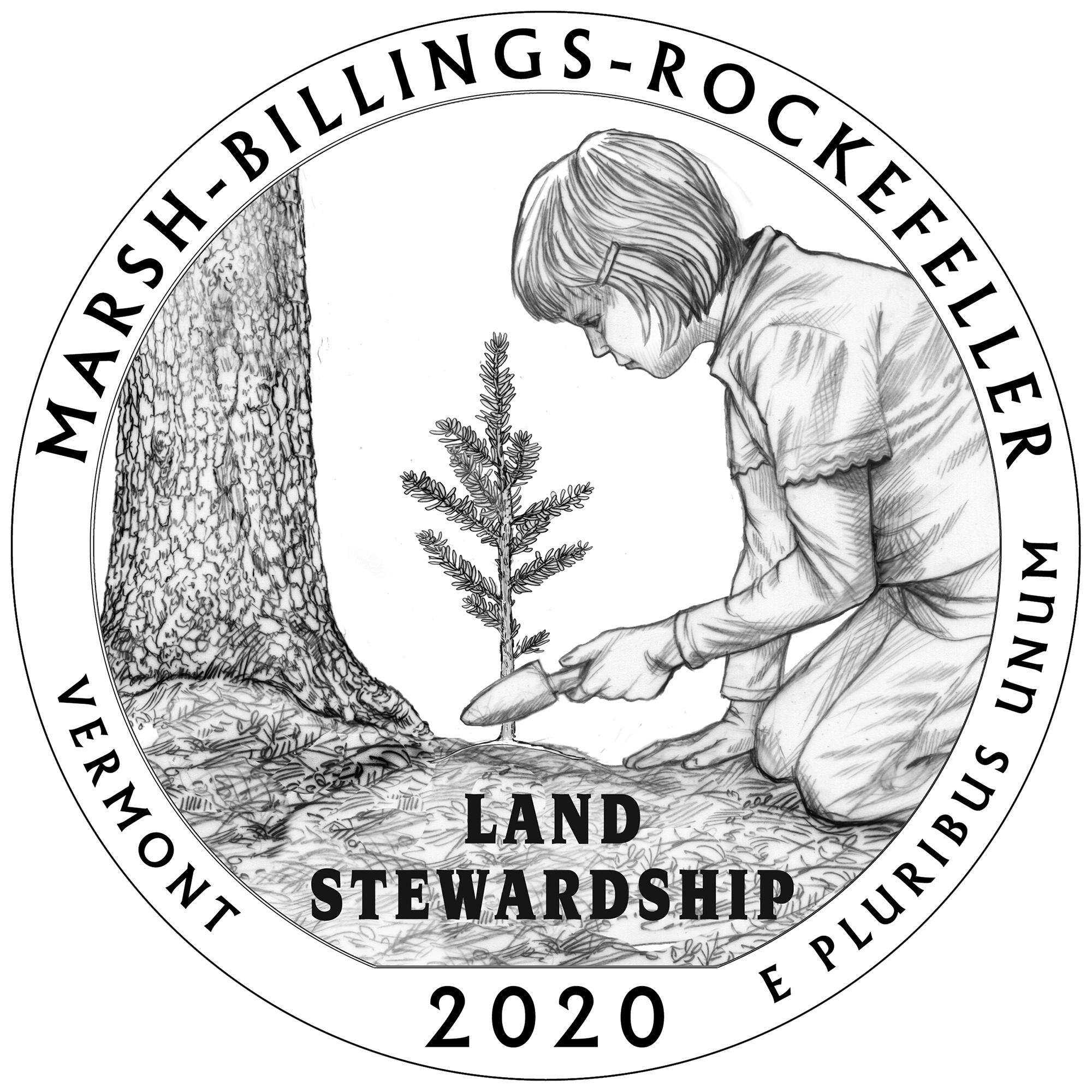 2020 America the Beautiful Quarters Coin Marsh Billings Rockefeller Vermont Reverse Line Art