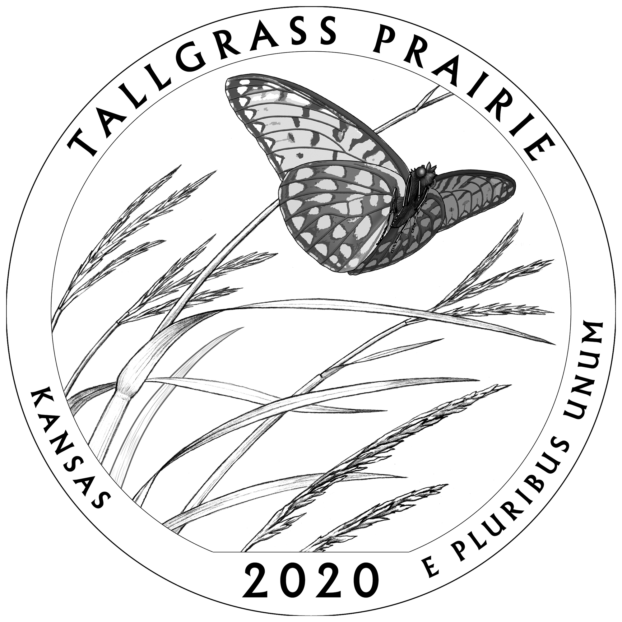 2020 America the Beautiful Quarters Coin Tallgrass Prairie Kansas Line Art Reverse
