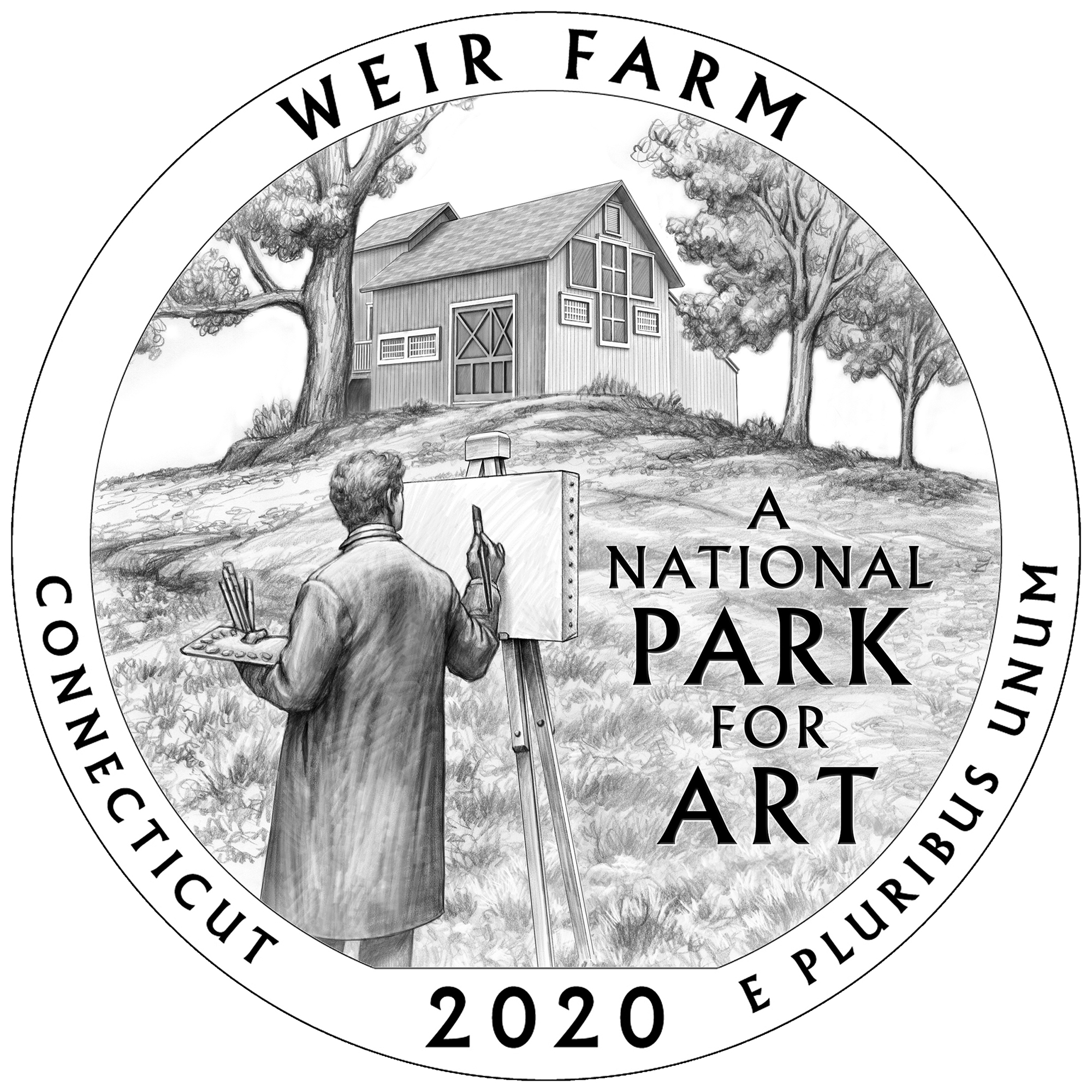2020 America the Beautiful Quarters Coin Weir Farm Connecticut Line Art Reverse