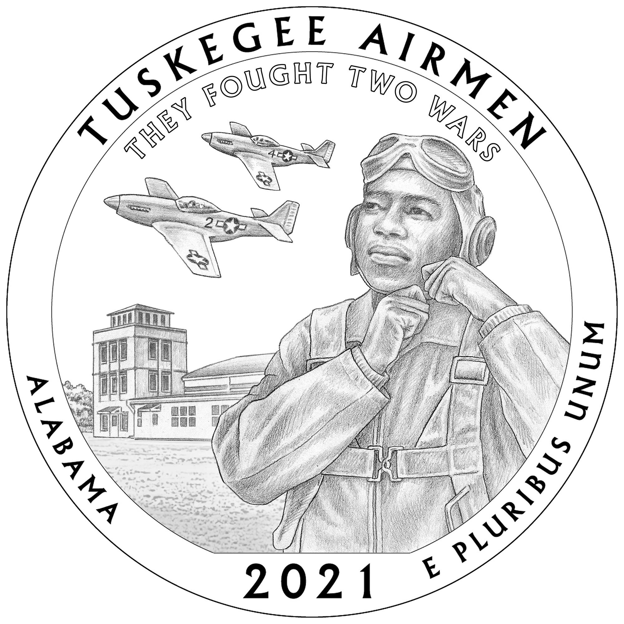 2021 America the Beautiful Quarters Coin Tuskegee Airmen Alabama Line Art Reverse