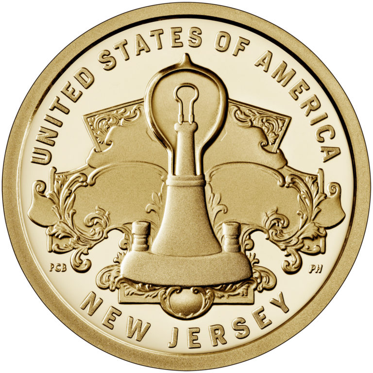 2019 American Innovation One Dollar Coin New Jersey Proof Reverse