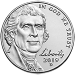 2019 Jefferson Nickel Obverse Uncirculated
