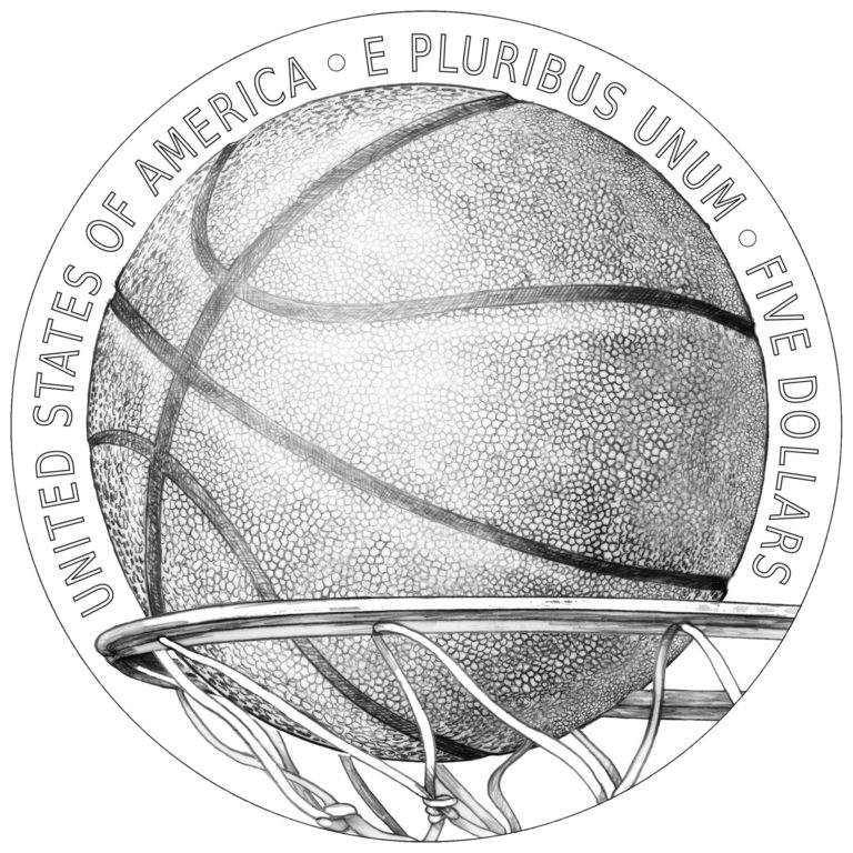 2020 Basketball Hall of Fame Commemorative Coin Gold Line Art Reverse