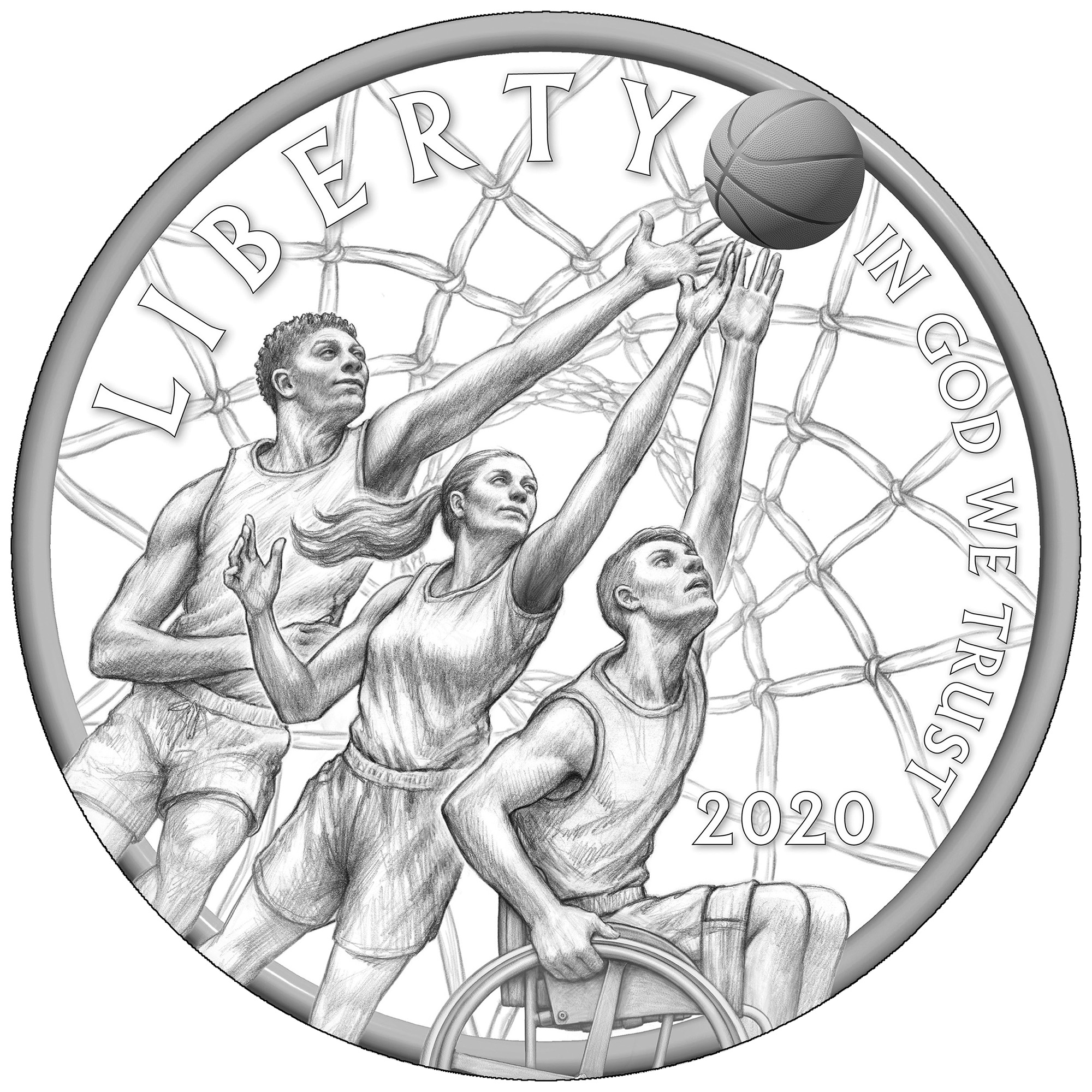 2020 Basketball Hall of Fame Commemorative Coin Line Art Obverse