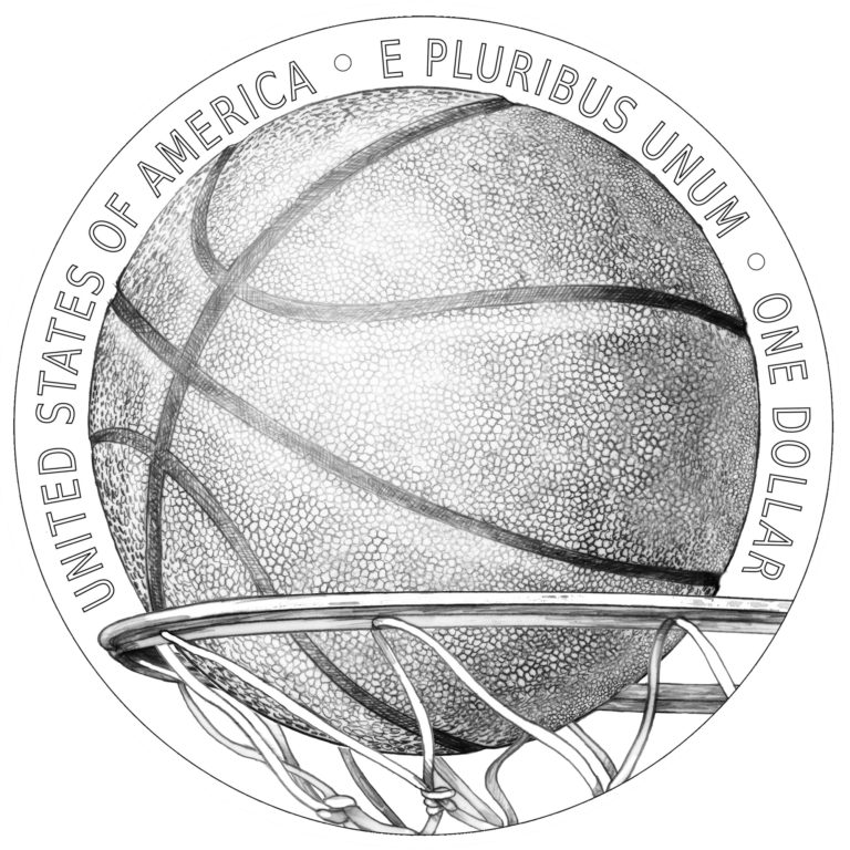 2020 Basketball Hall of Fame Commemorative Coin Silver Line Art Reverse
