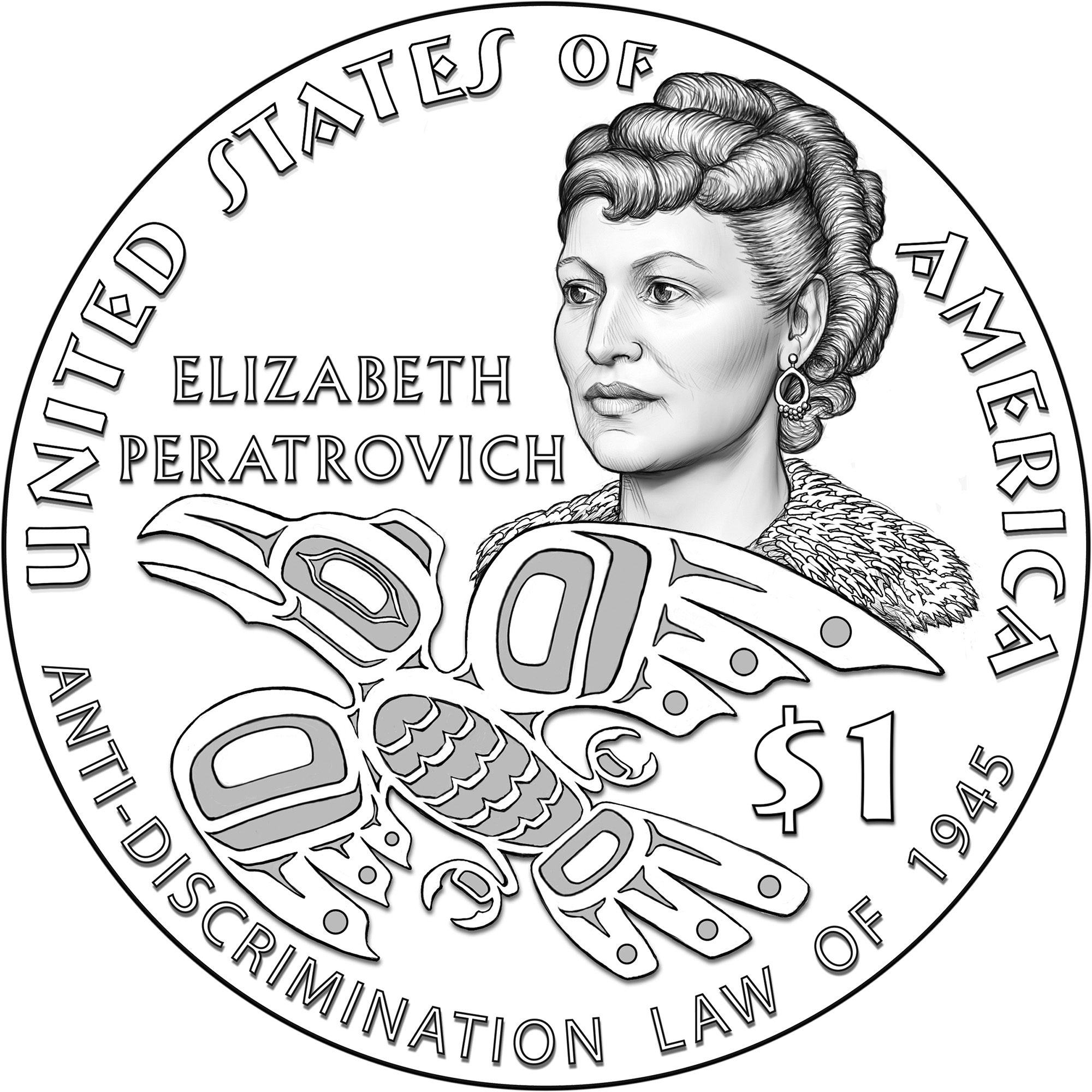 2020 Native American One Dollar Line Art Reverse