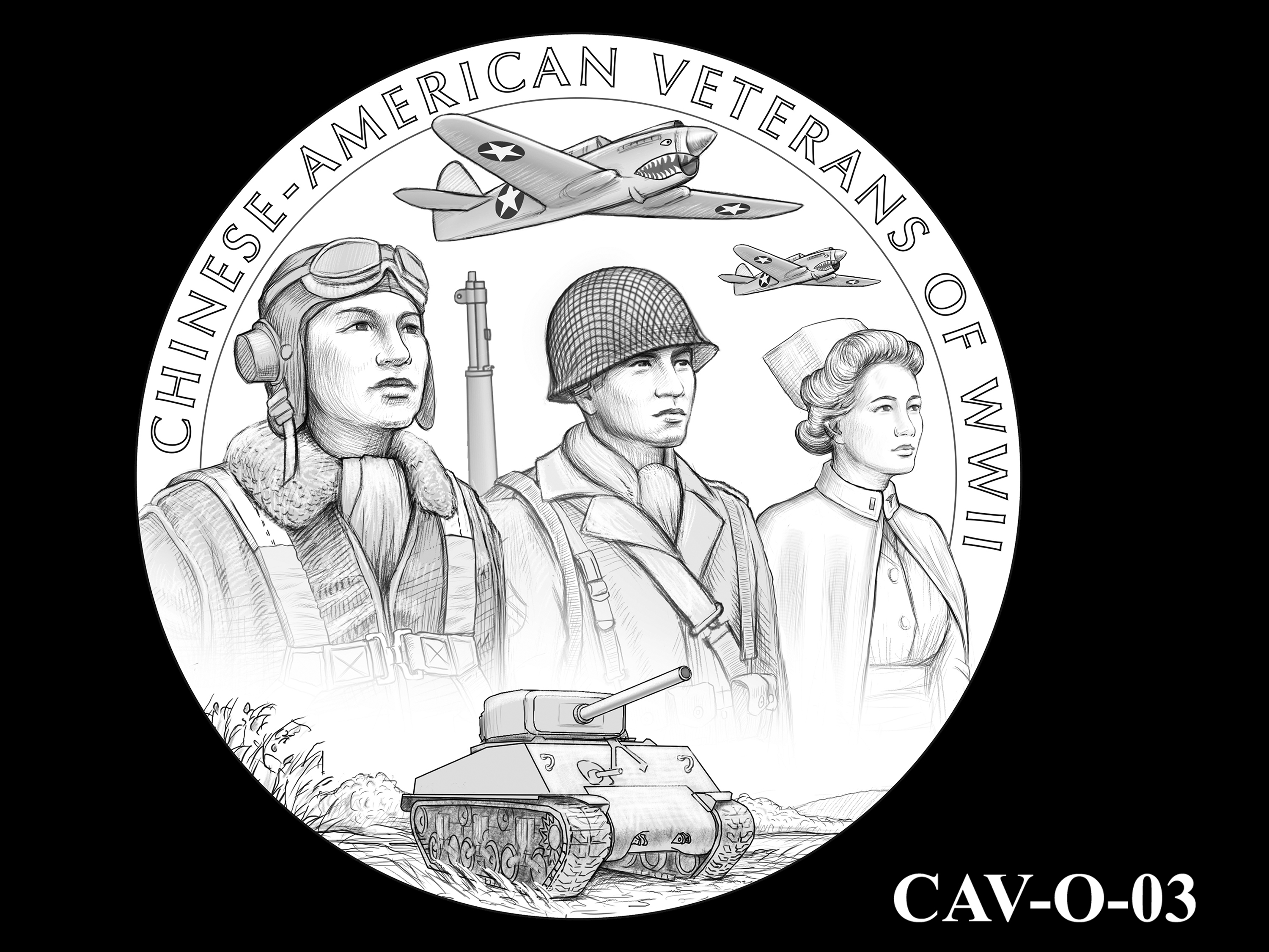CAV-O-03 -- Chinese-American Veterans of World War II Congressional Gold Medal - Obverse